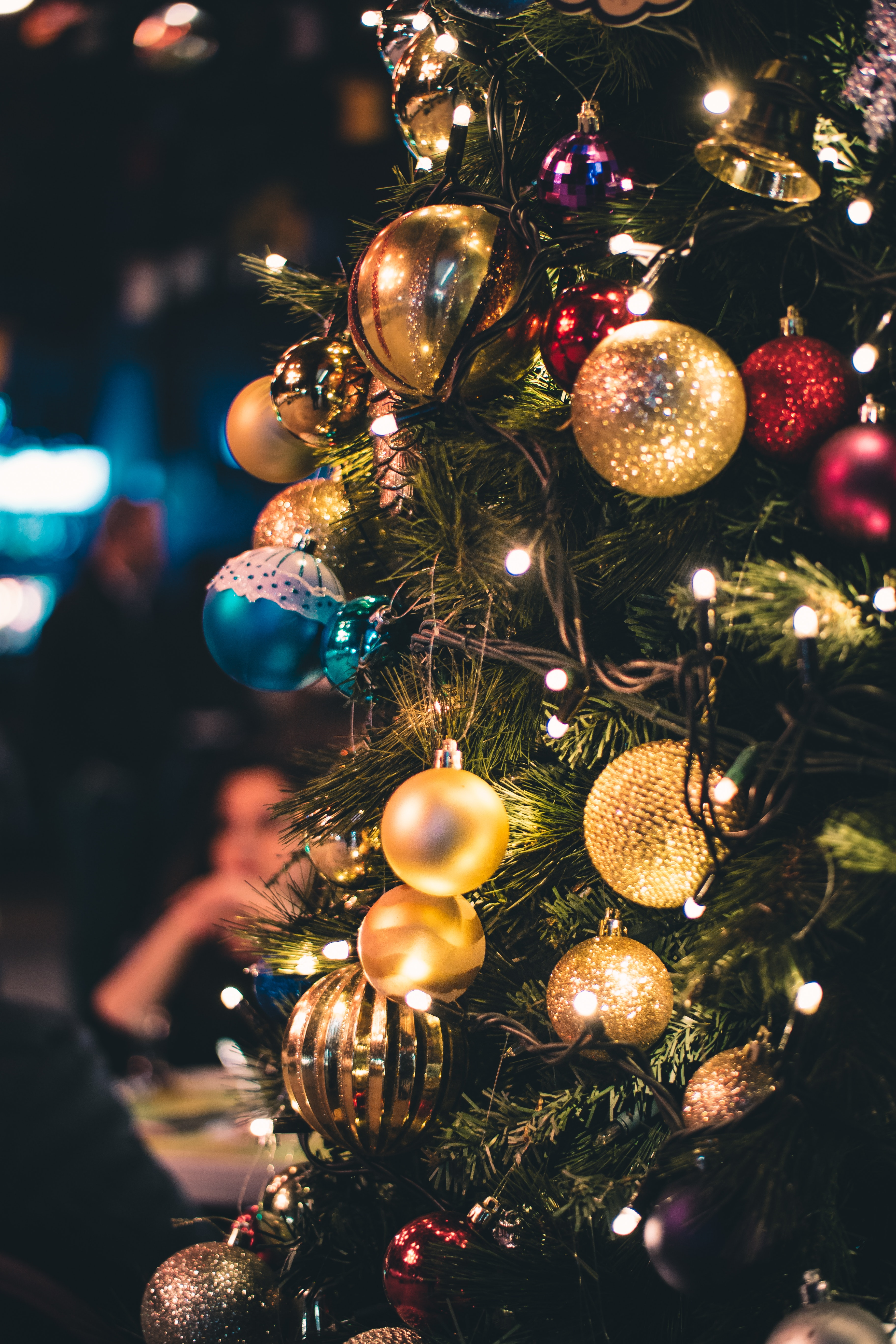 Green and Gold-colored Lighted Christmas Tree, Hanging, Tree, Traditional, Threads, HQ Photo