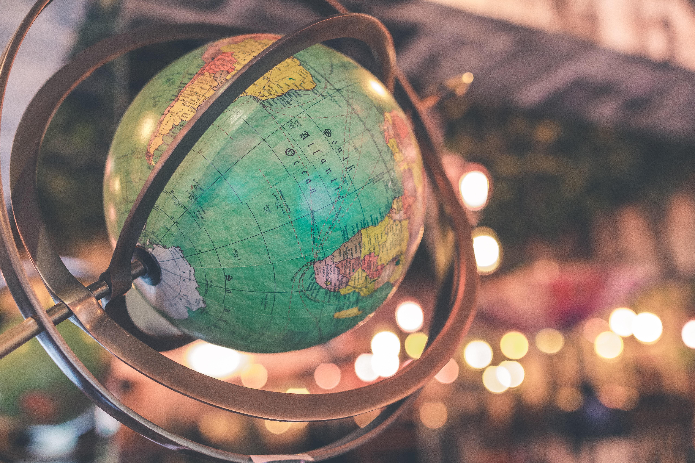 Green and multicolored globe photo