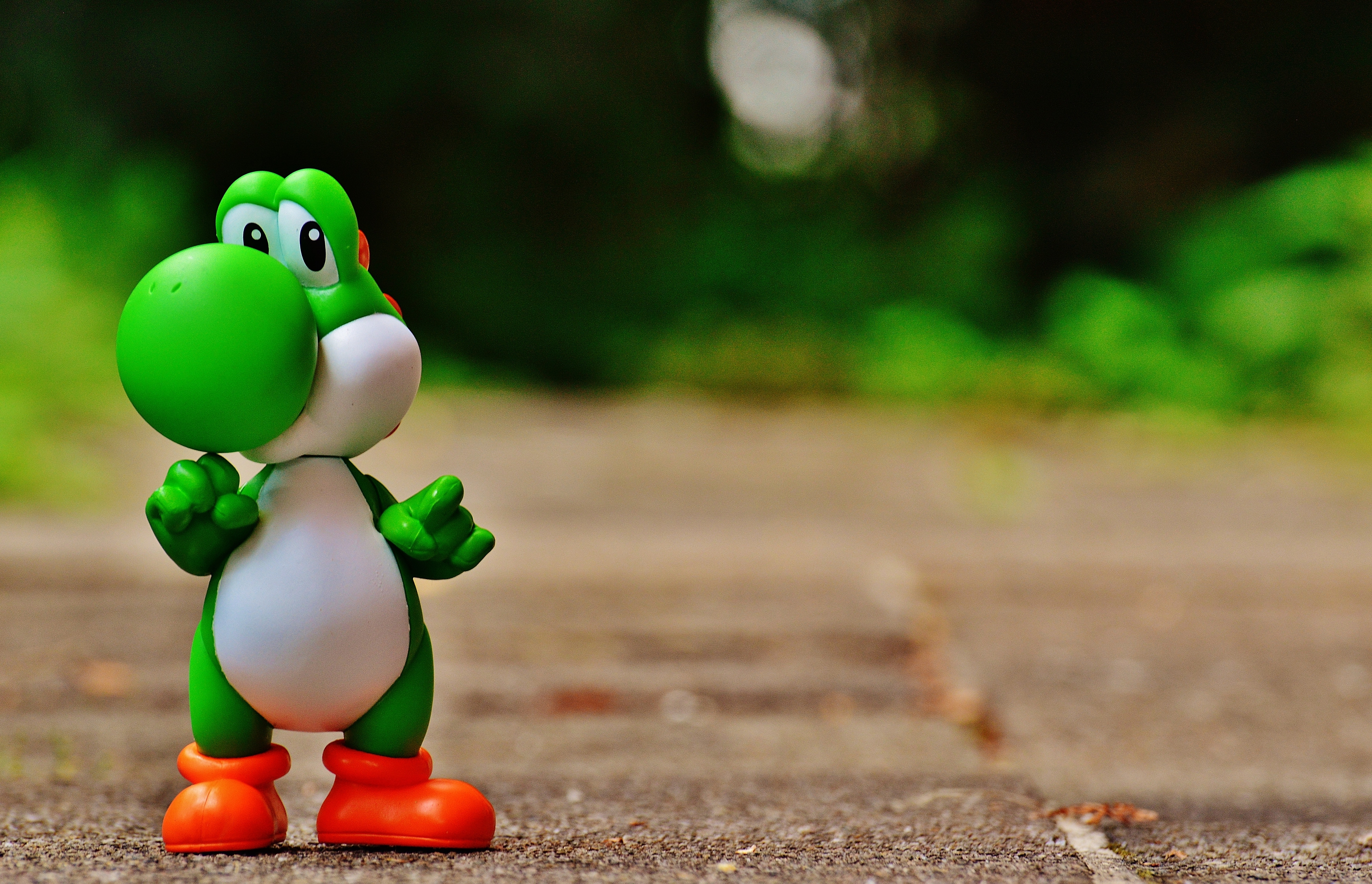 Green and White Dinosaur Toy on Brown Ground in Tilt Shift Photography, Blur, Character, Child, Color, HQ Photo