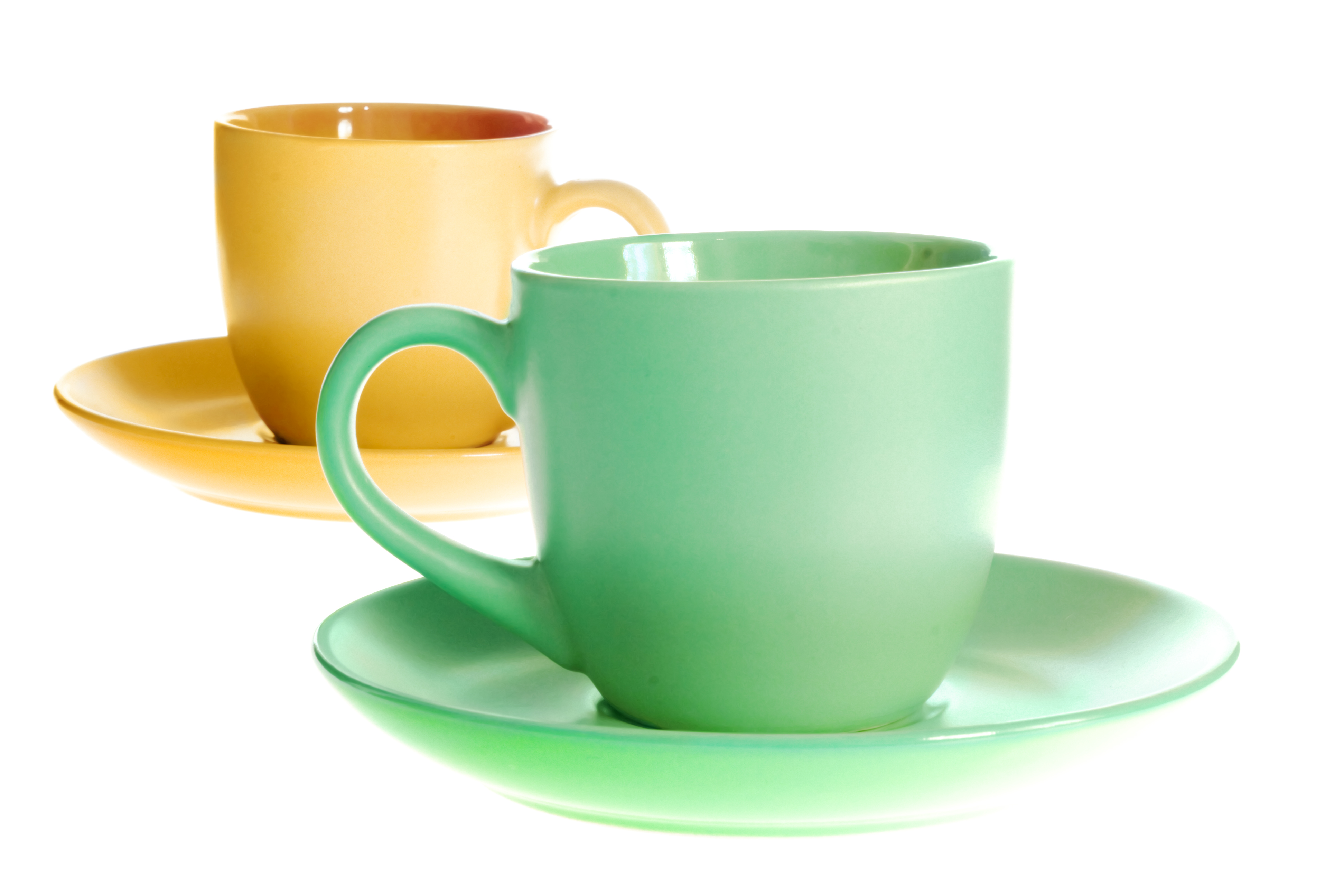 Green and yellow cups, Beverage, Heap, White, Tea, HQ Photo