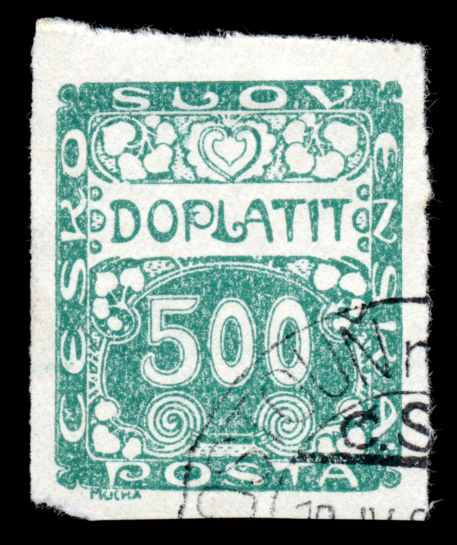 Green art nouveau stamp photo