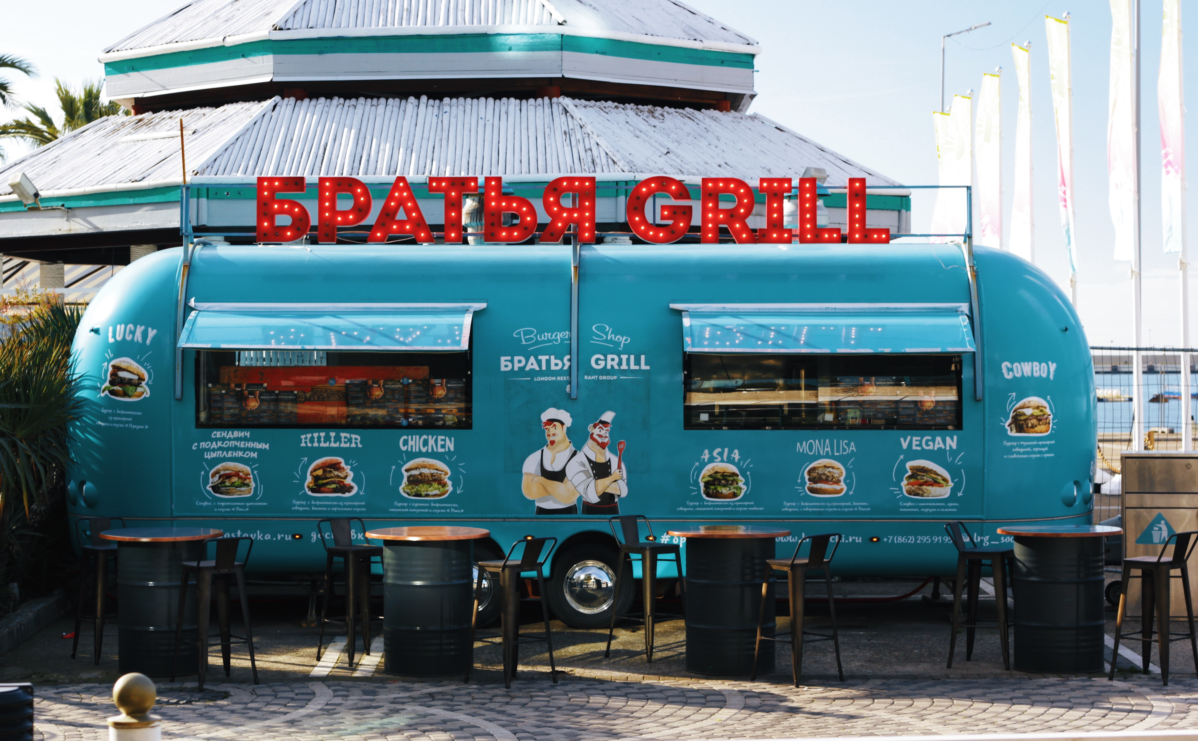 Green barbecue grill food stall photo