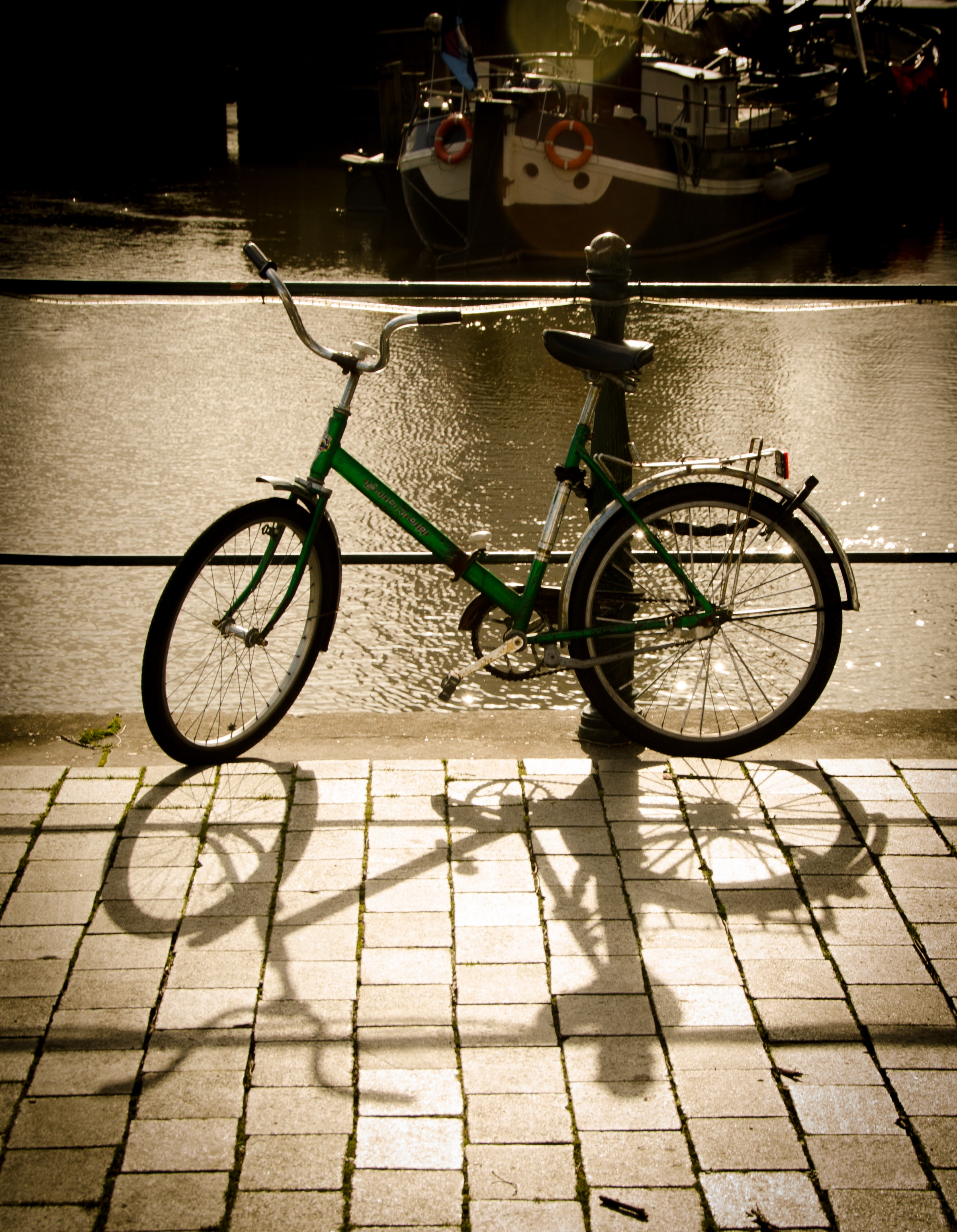 Green bike parked beside the body of water photo
