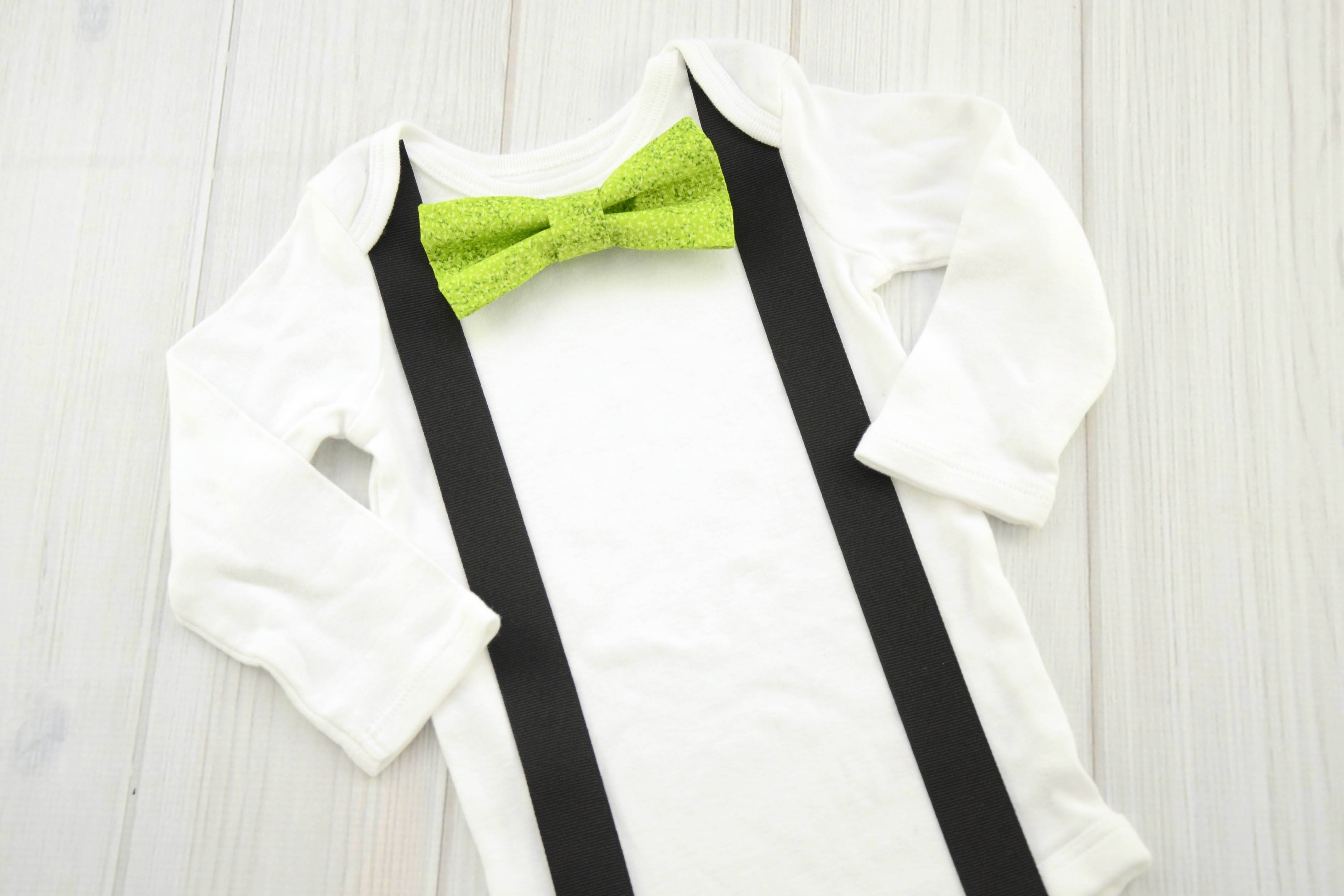Textured Green Bow Tie & Suspender Shirt - Labor of Love Baby Boutique