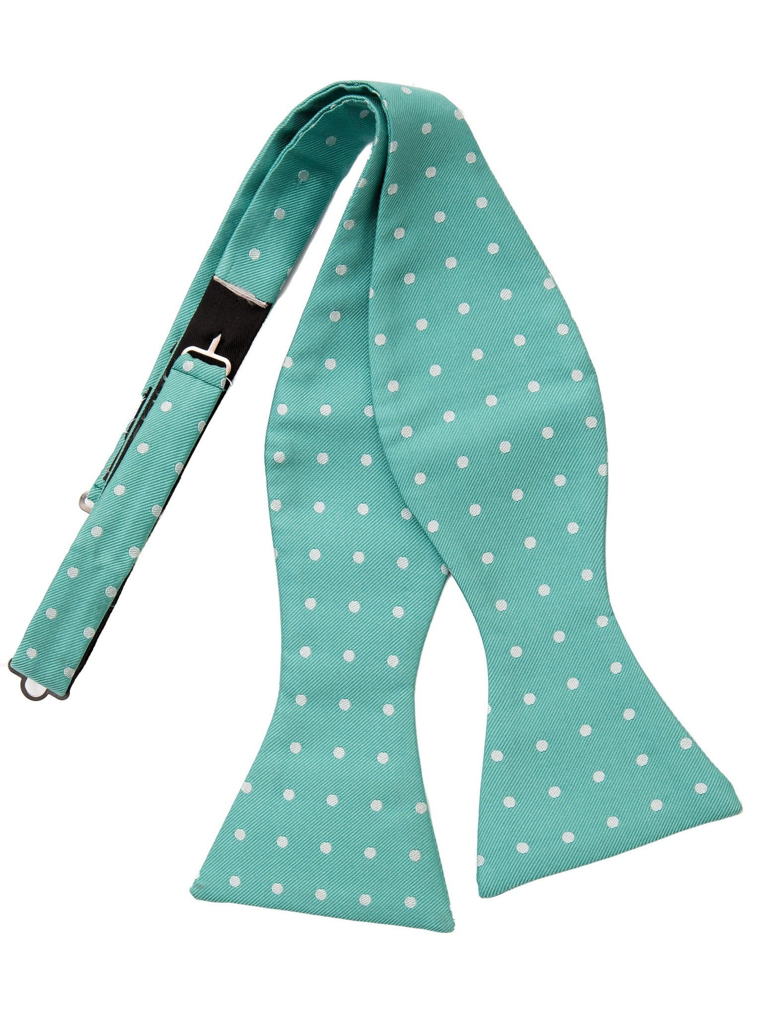 Mens Italian Silk Self Tie Polka Dot Mint Green Bow Tie – Elizabetta