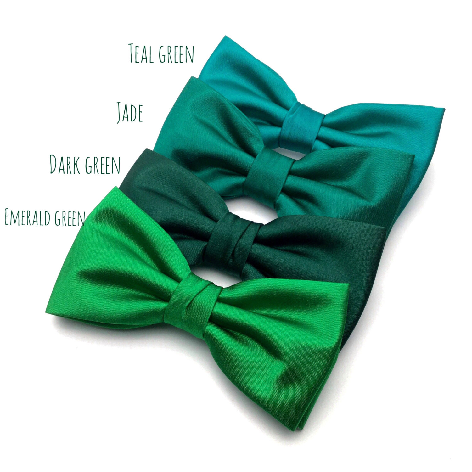 Wedding Bow Tie | Mens Satin Bow Tie | Solid Green Bow Tie | Teal ...