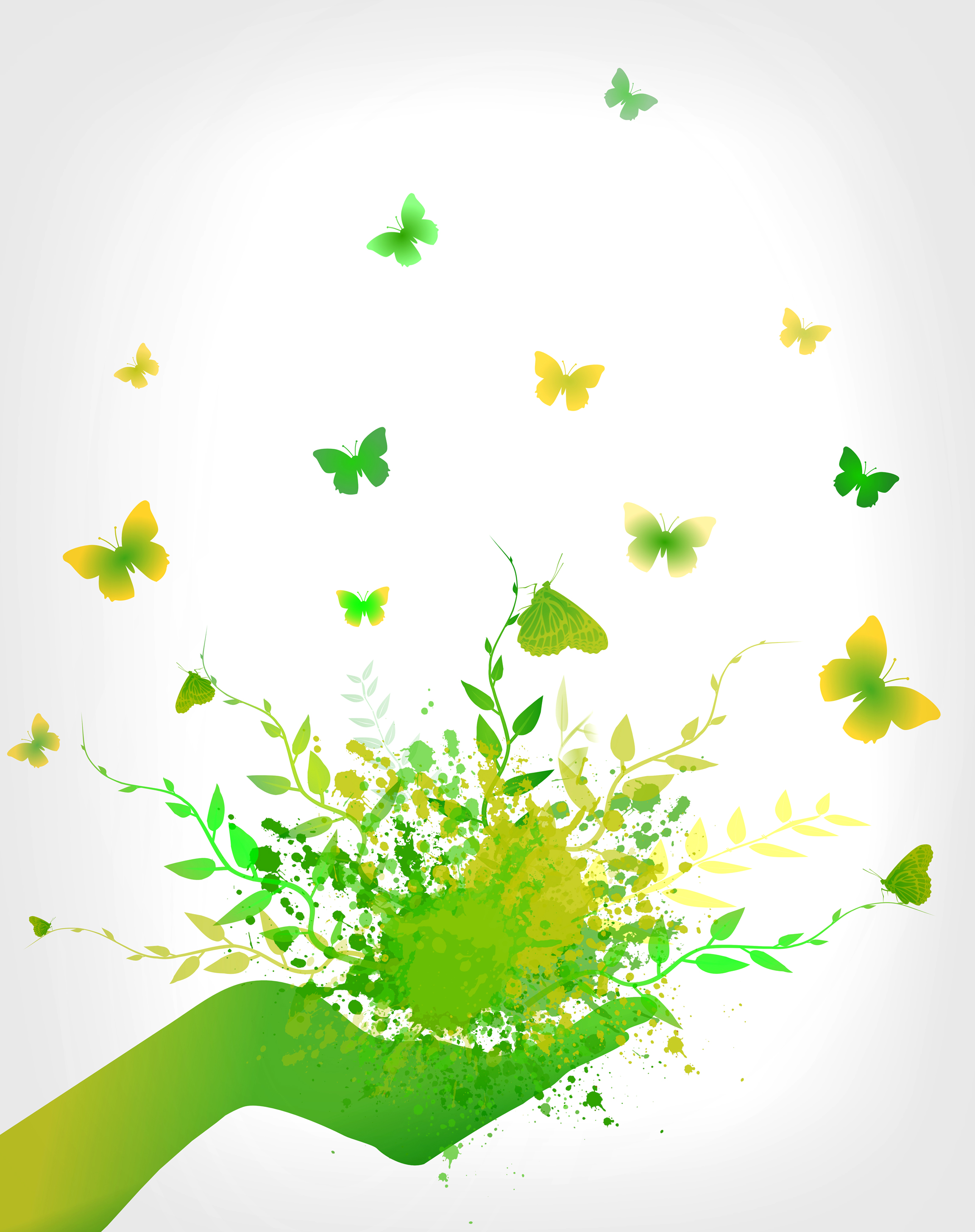 Green Concept - Splashes and Butterflies, Arm, Organic, Poster, Positive, HQ Photo