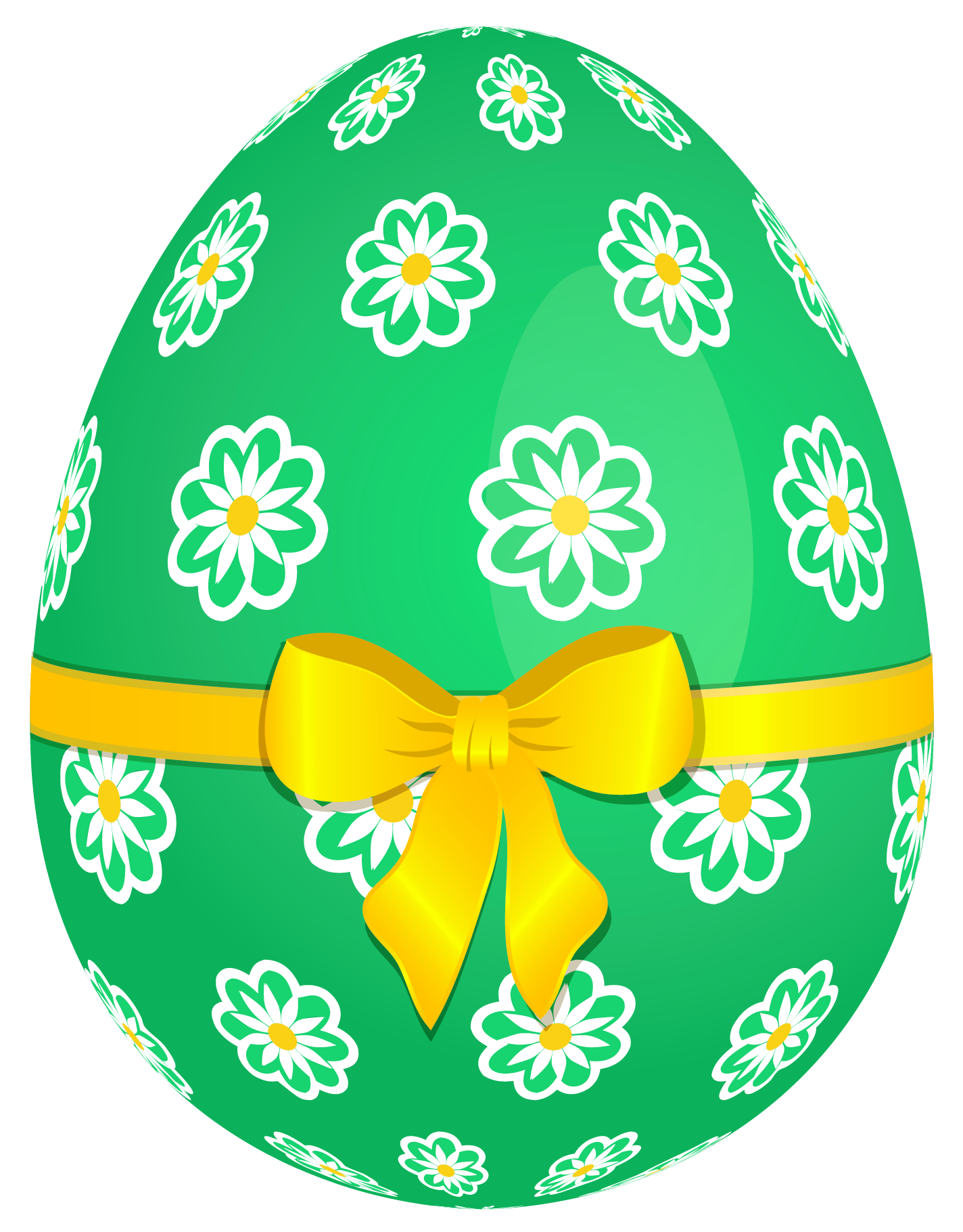 Green Easter Egg with Flowers and Yellow Bow PNG Picture | Gallery ...
