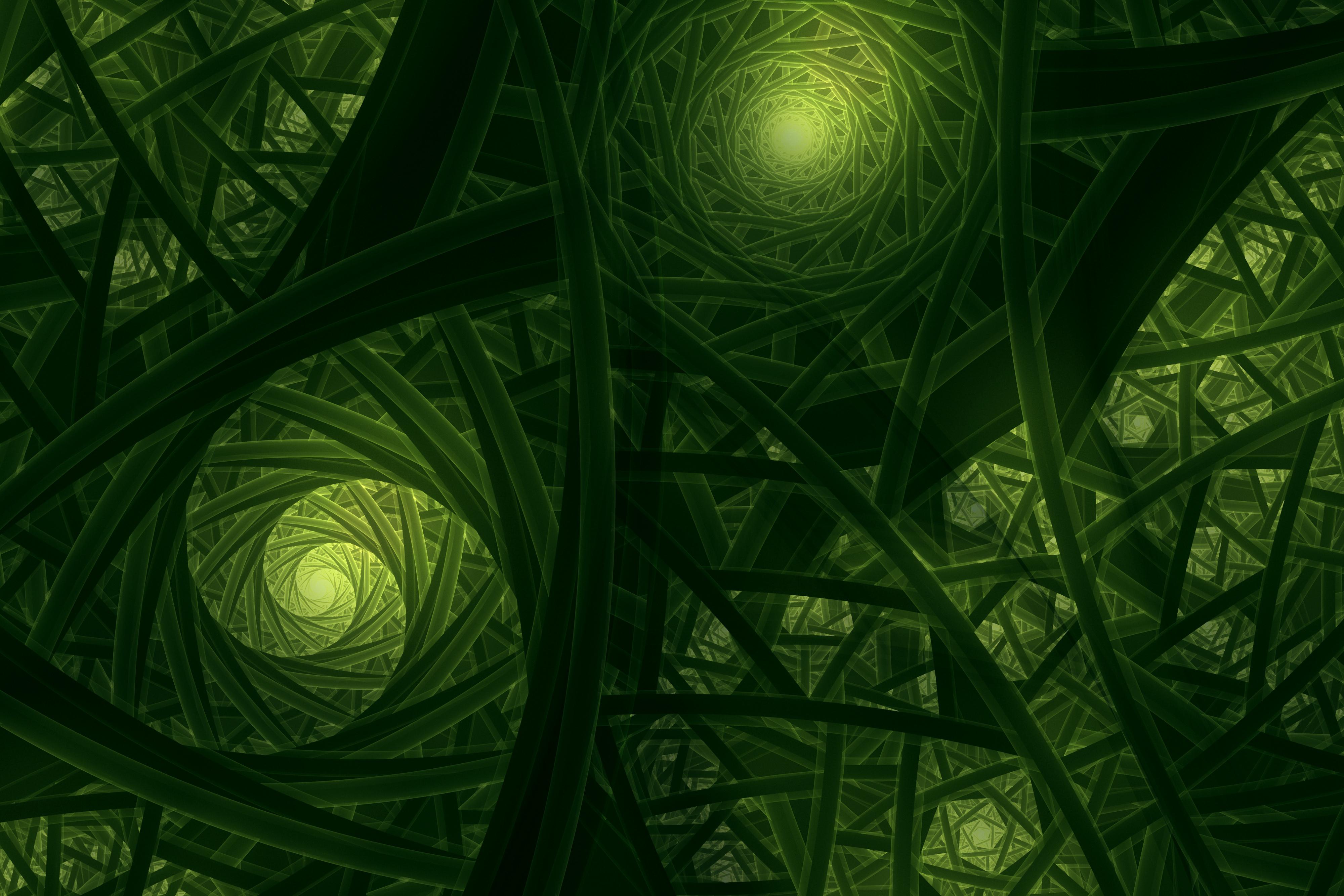 Wallpaper Fractals, Green, 4K, Abstract, #7419
