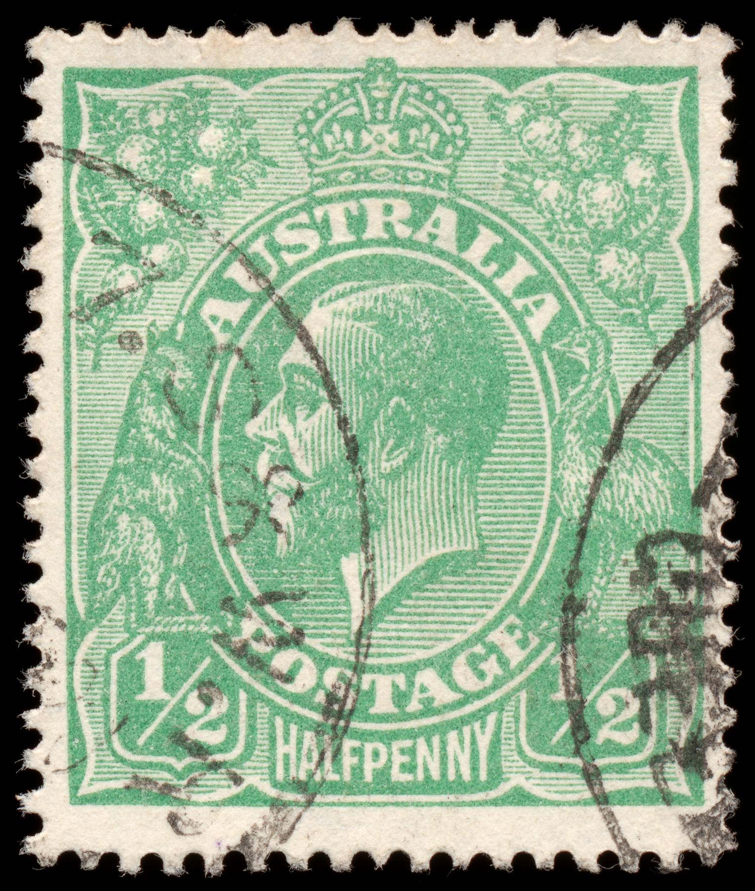 Green king george v stamp photo