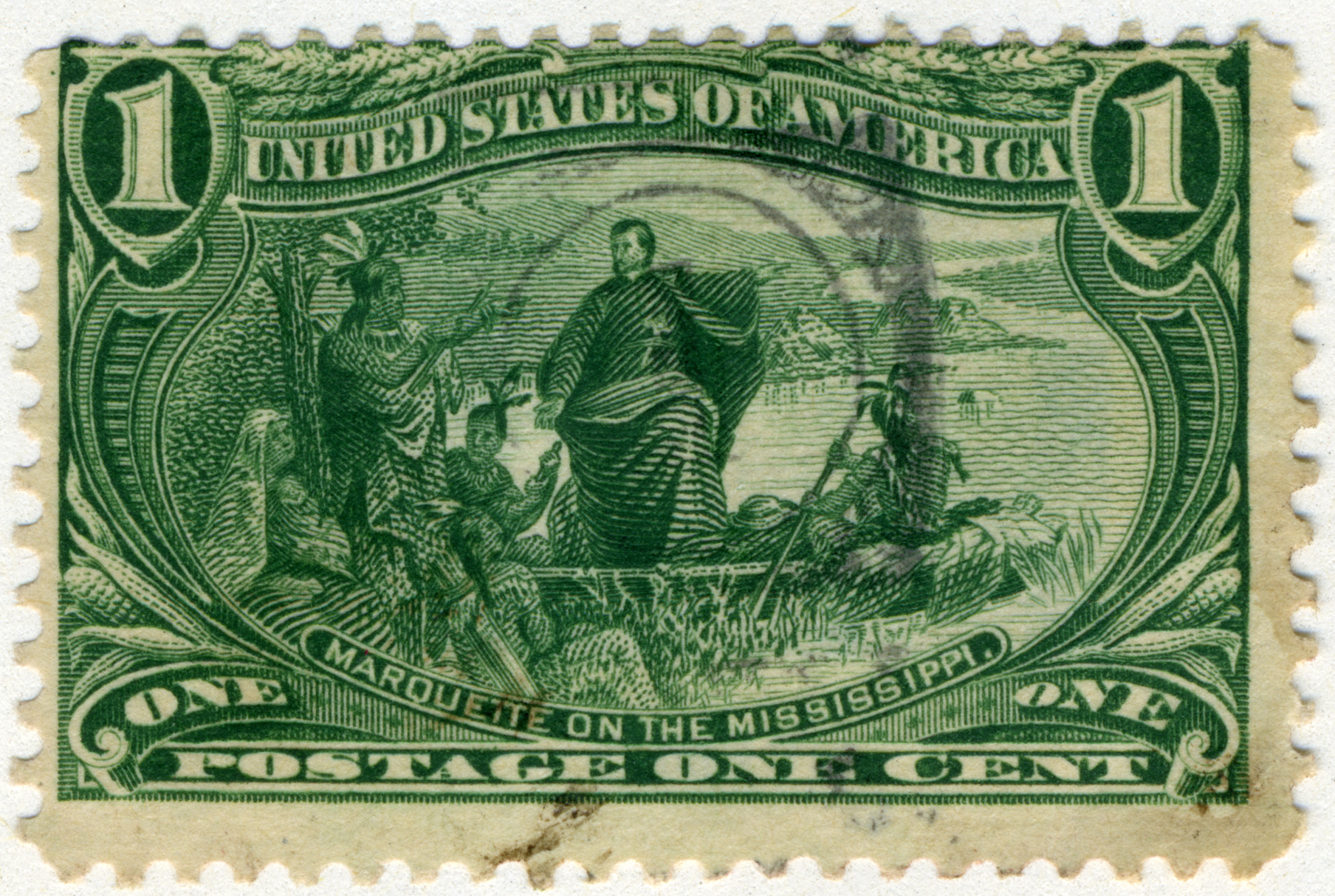 File:US stamp 1898 1c Marquette on the Mississippi.jpg - Wikimedia ...