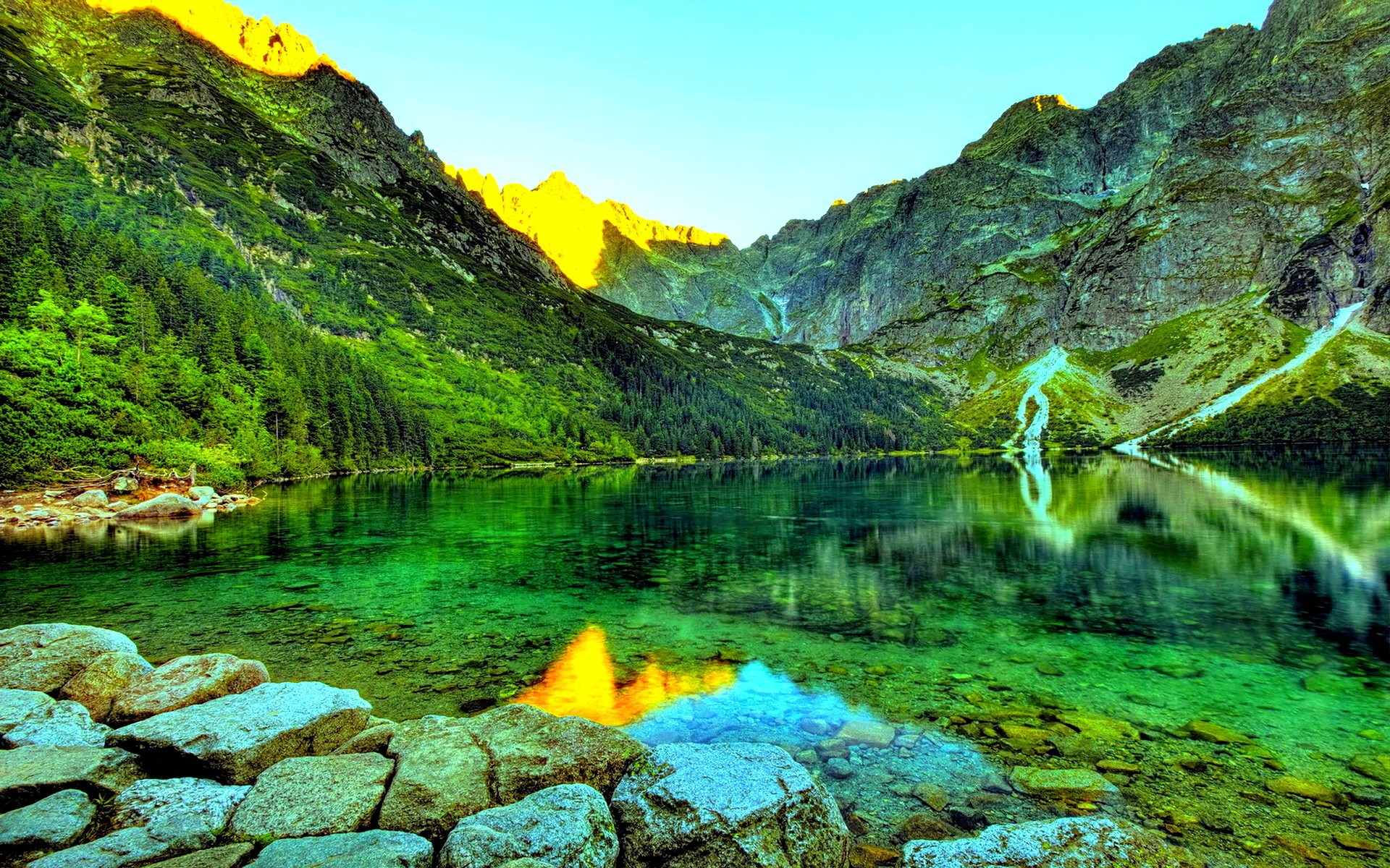 Clear water in the green mountain lake wallpapers and images ...