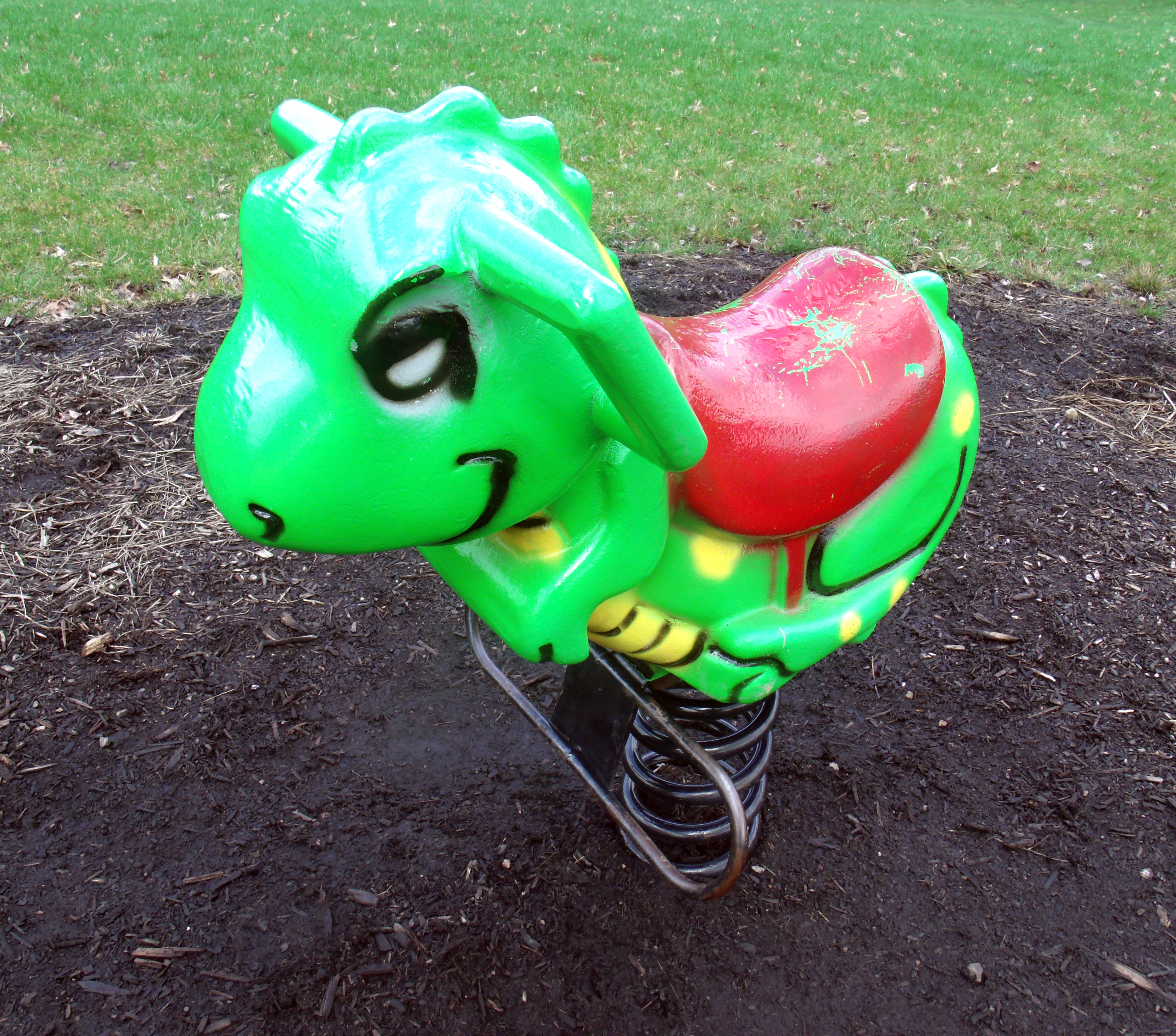 Green playground rocking dinosaur, Dinosaur, Green, Playground, Rocking, HQ Photo