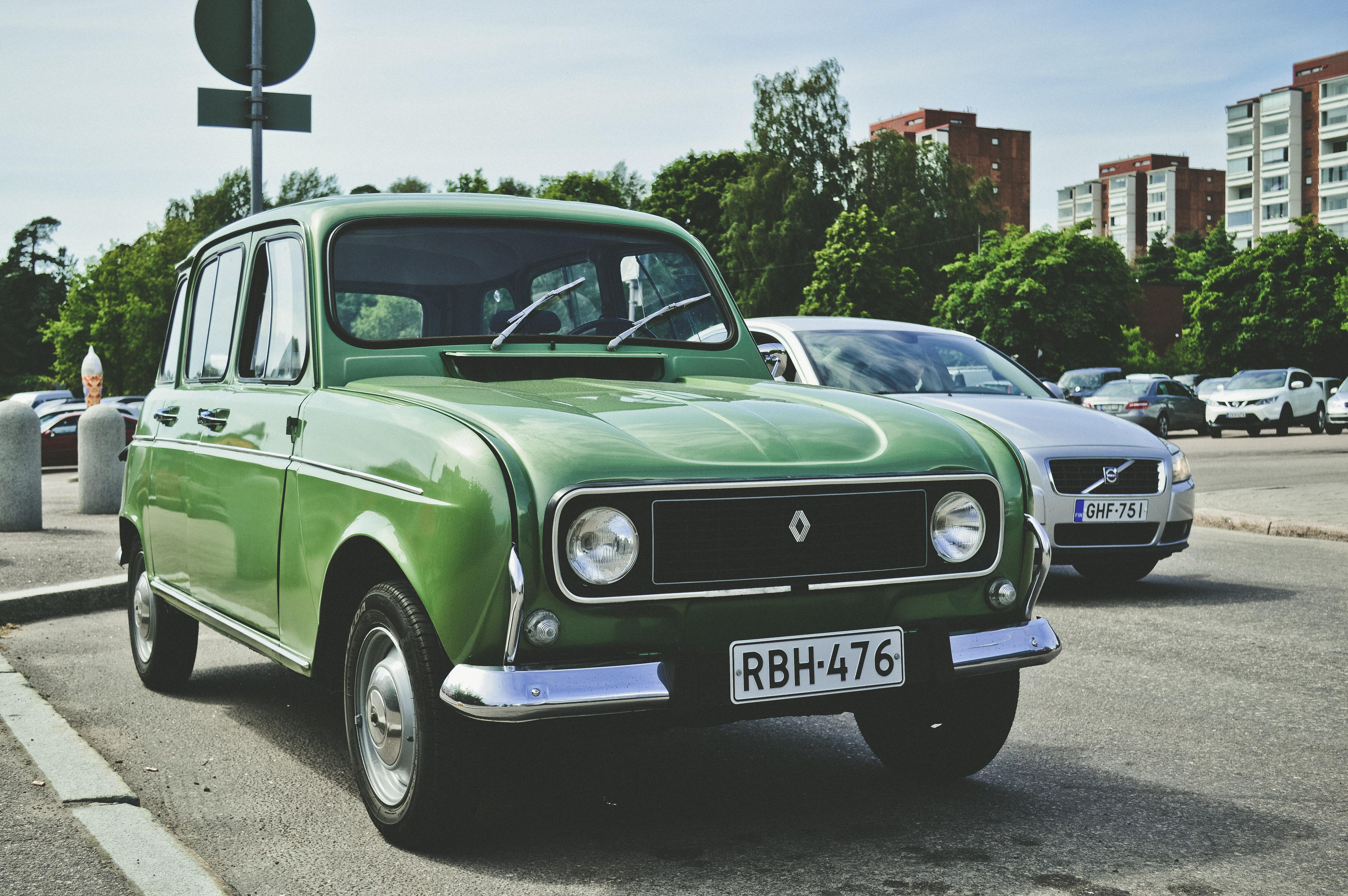 Green Renault Sedan, Asphalt, Outdoors, Vintage, Vehicles, HQ Photo