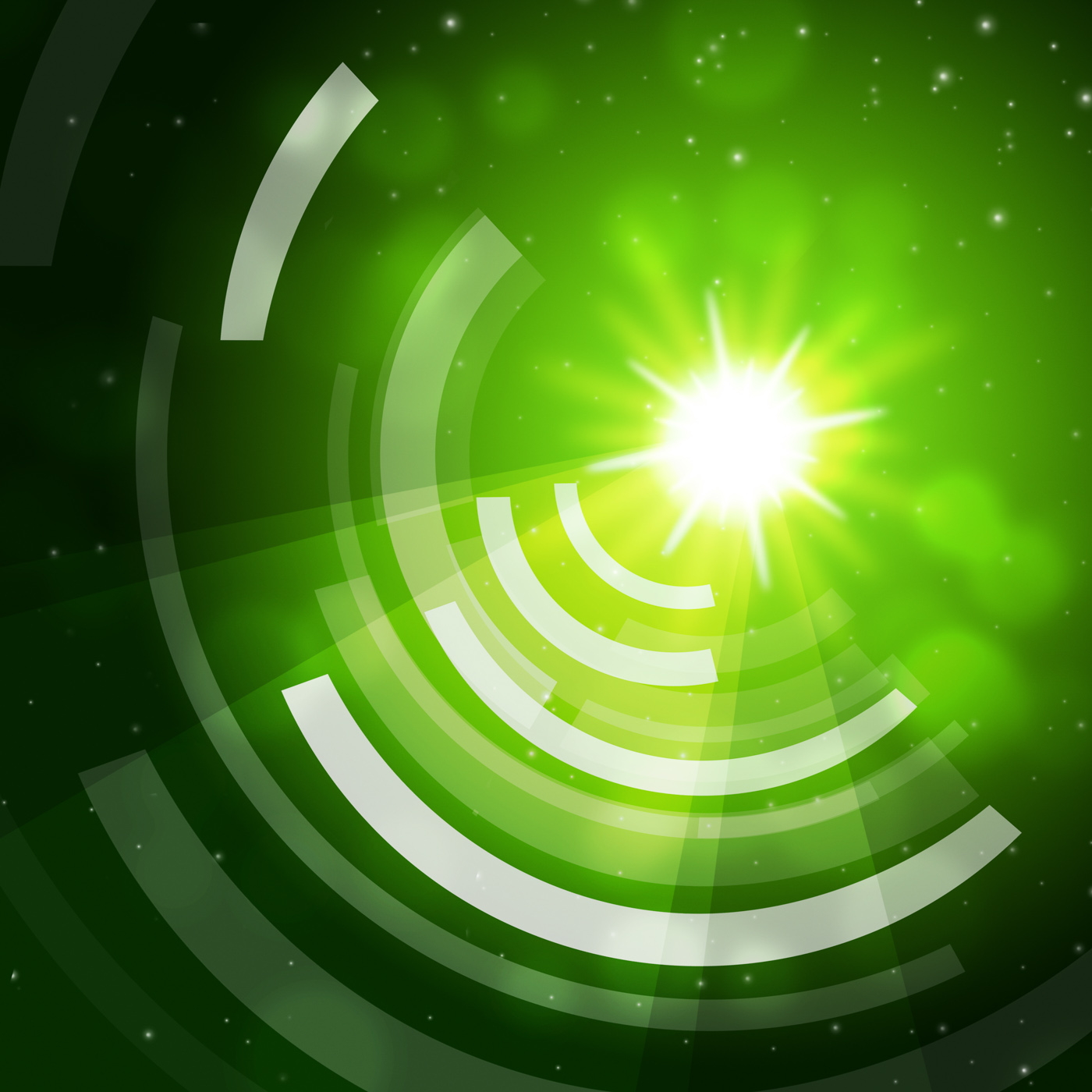 Green Sun Background Means Giving Offf Frequencies, Waves, Radiating, Sun, Star, HQ Photo