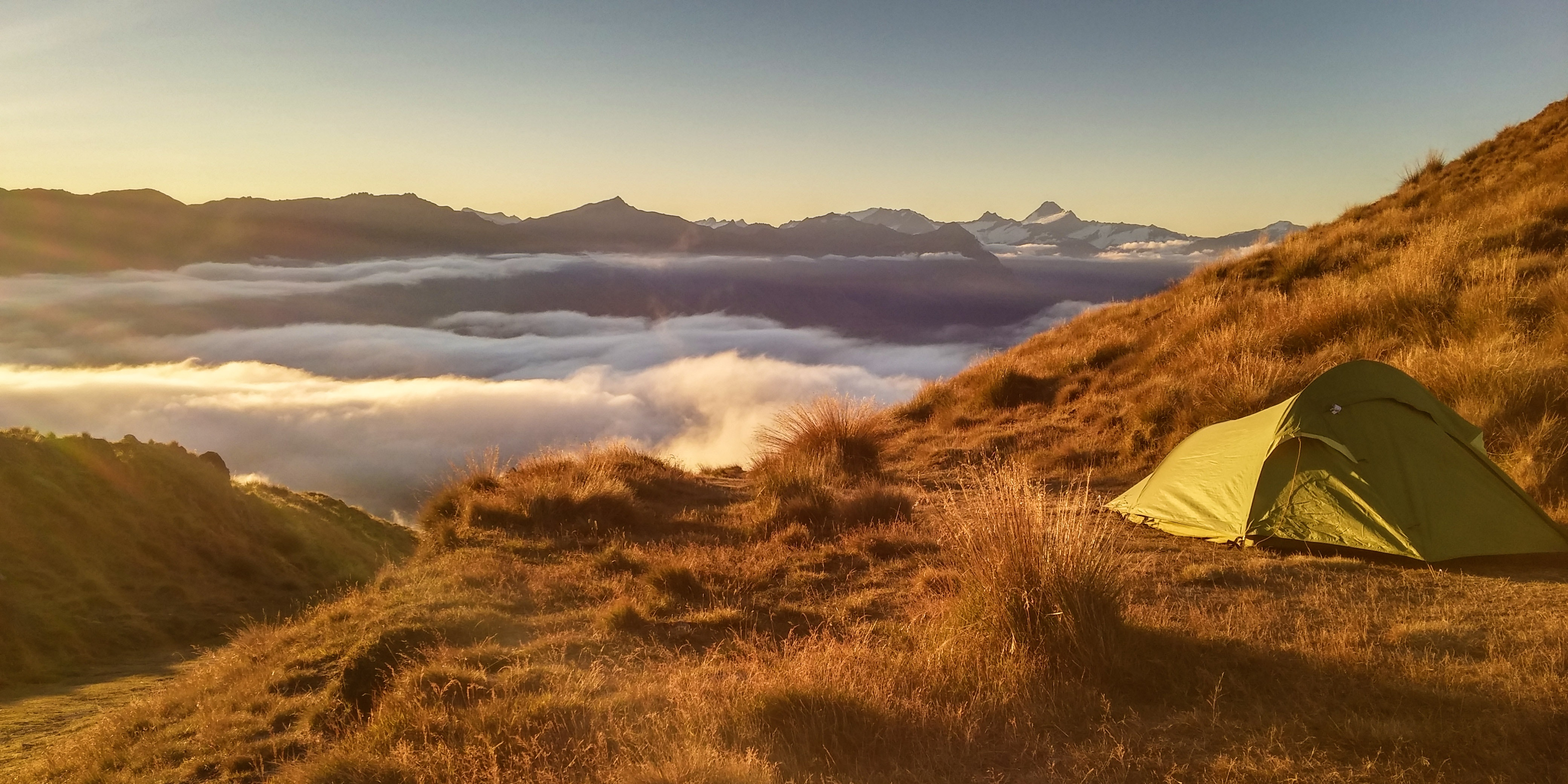 Green Tent On Top Of Mountain, Camping, Landscape, Summit, Sea of clouds, HQ Photo