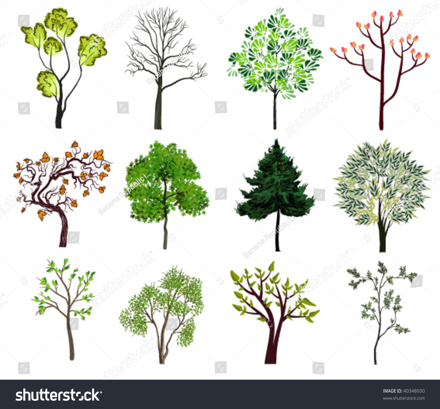Green Trees Icons Spring Nature Collection Stock Vector 40348930 ...
