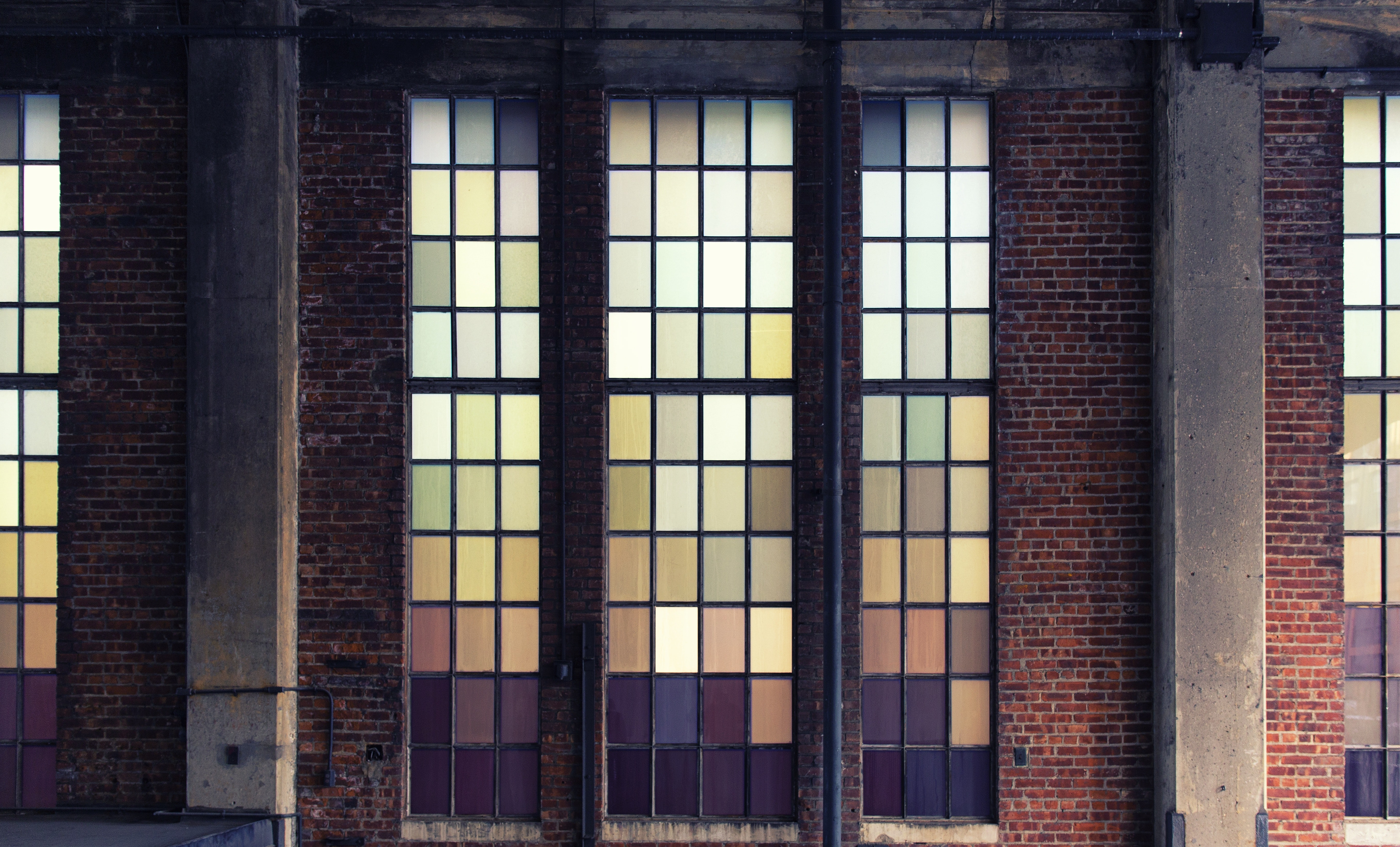 Green Yellow and Pink Stained Glass, Aged, Old building, Weathered, Vintage, HQ Photo