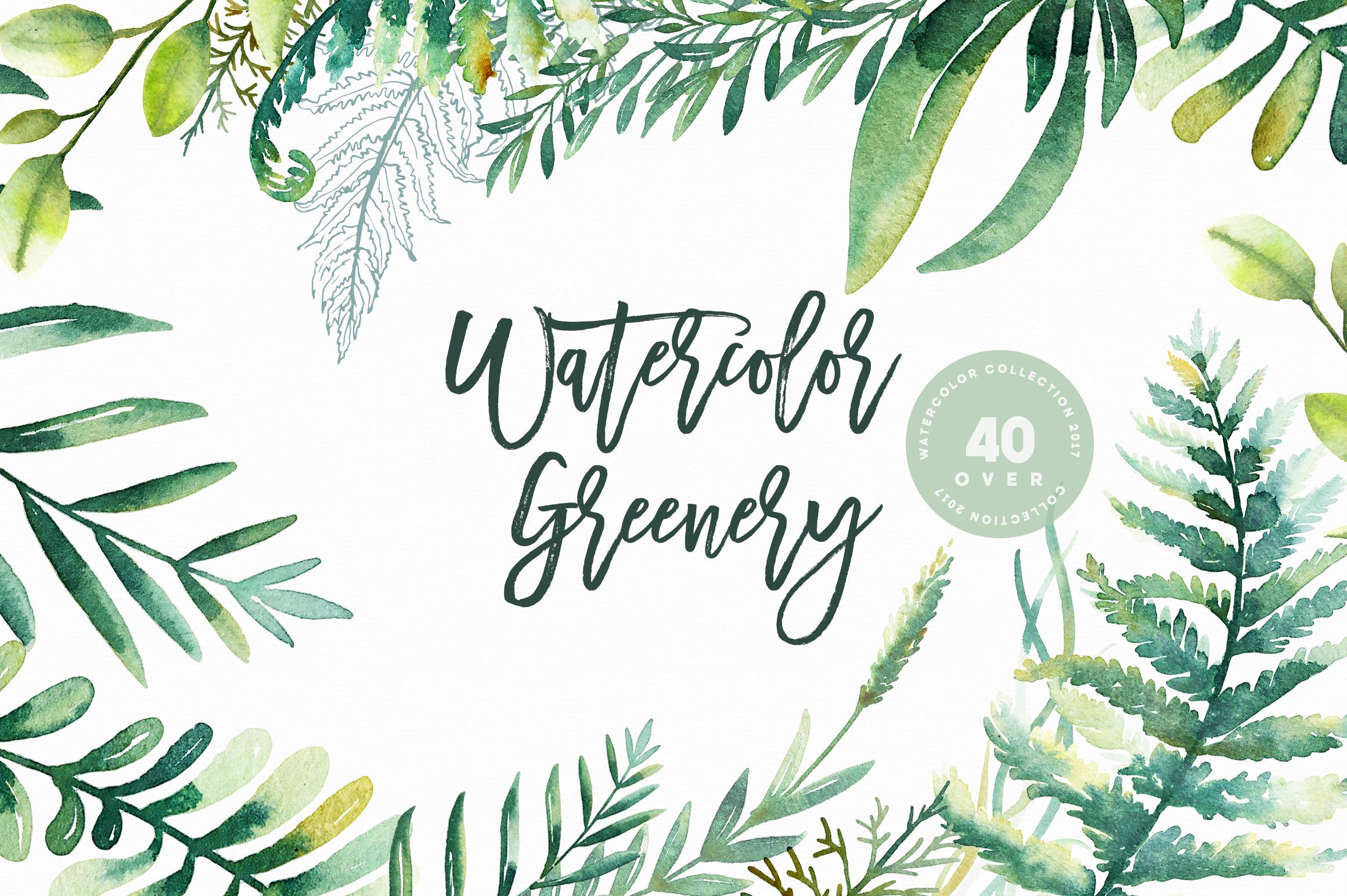 Watercolor Greenery by Nadi Spasibenko | Design Bundles
