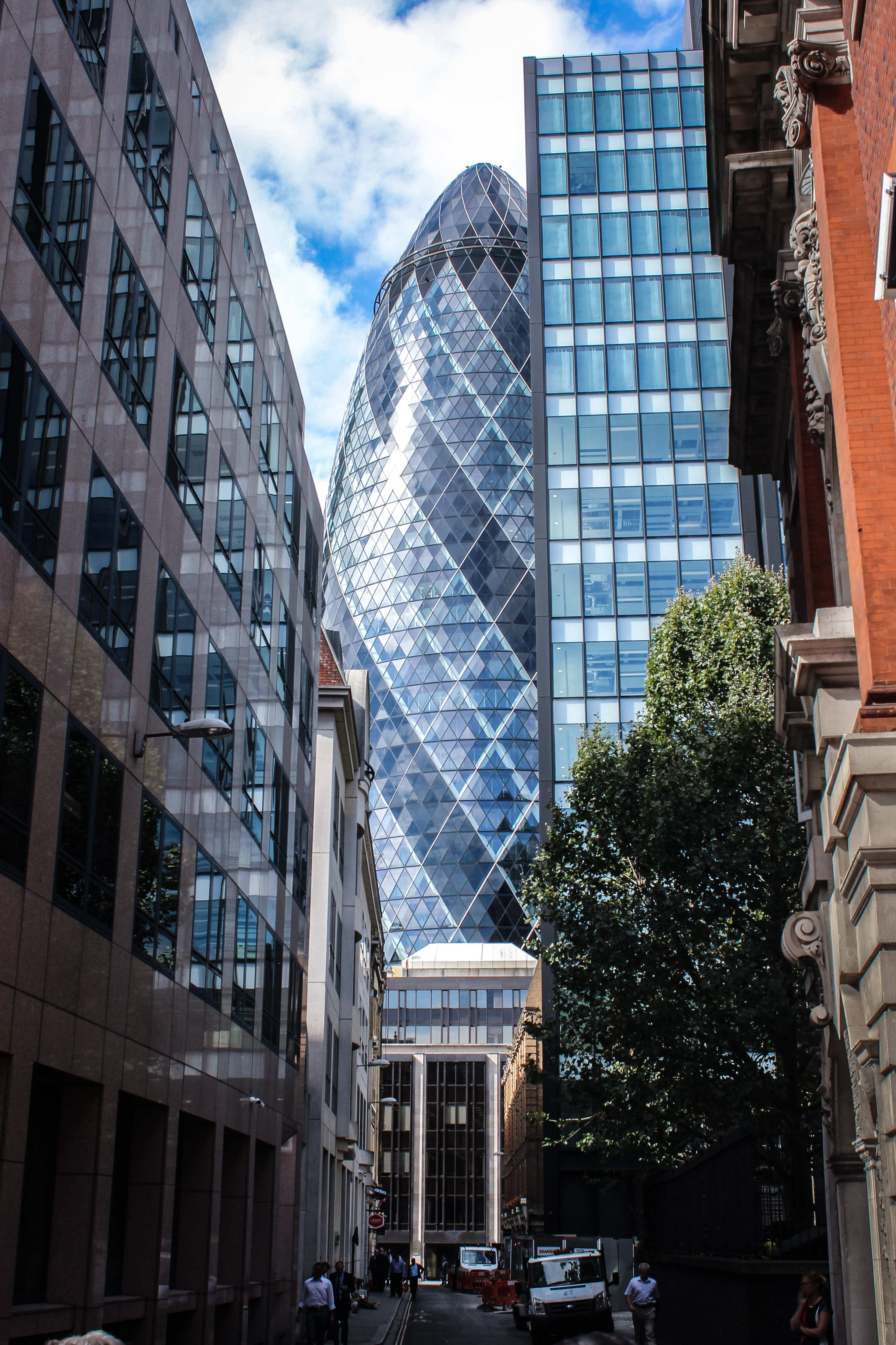 Grey and Blue Glass Bullet Tower, Architectural design, High, Urban, Tree, HQ Photo