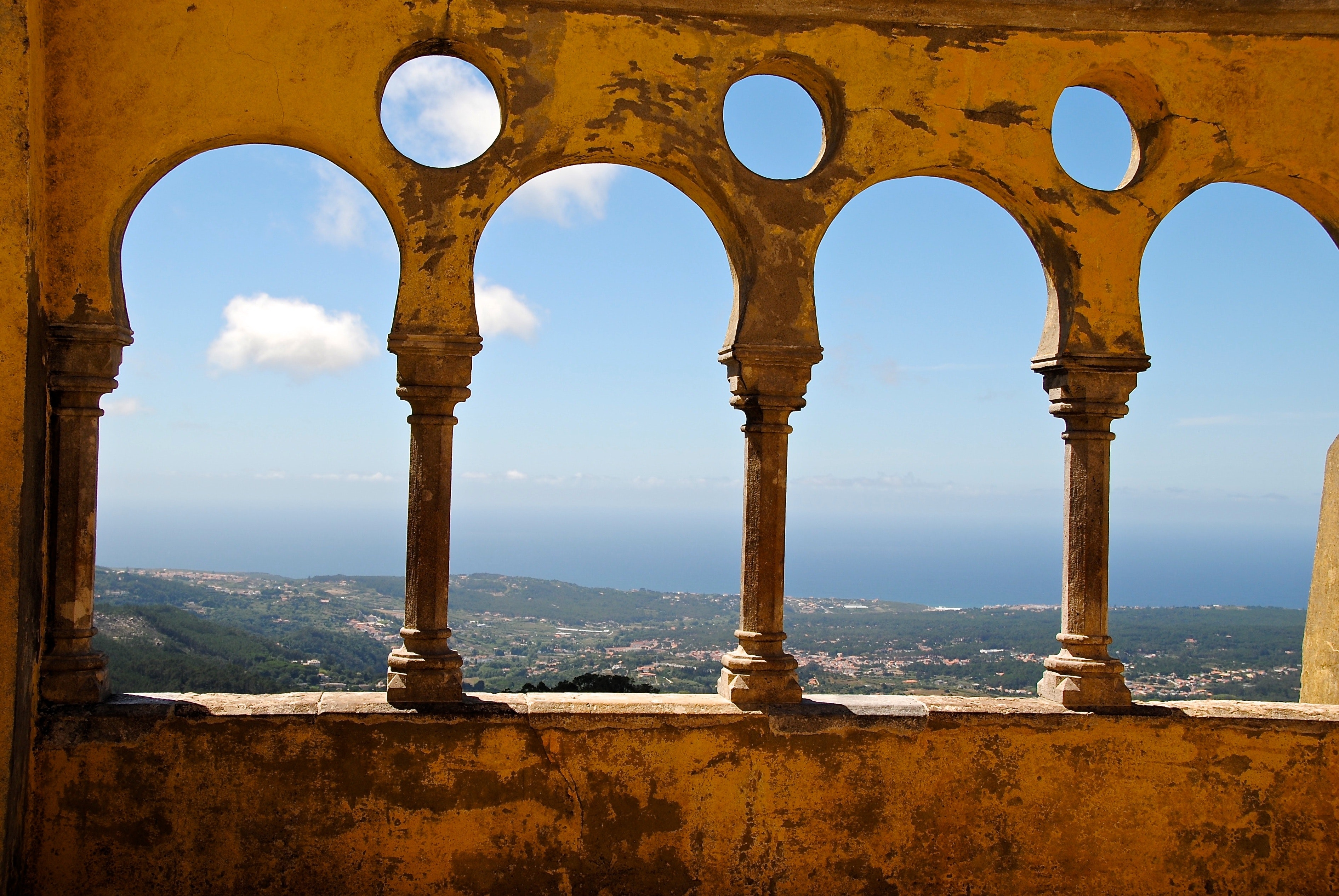 Grey Concrete 3 Baluster Near Mountains and Sea during Daytime, Ancient, Portugal, Unesco world heritage site, Travel, HQ Photo