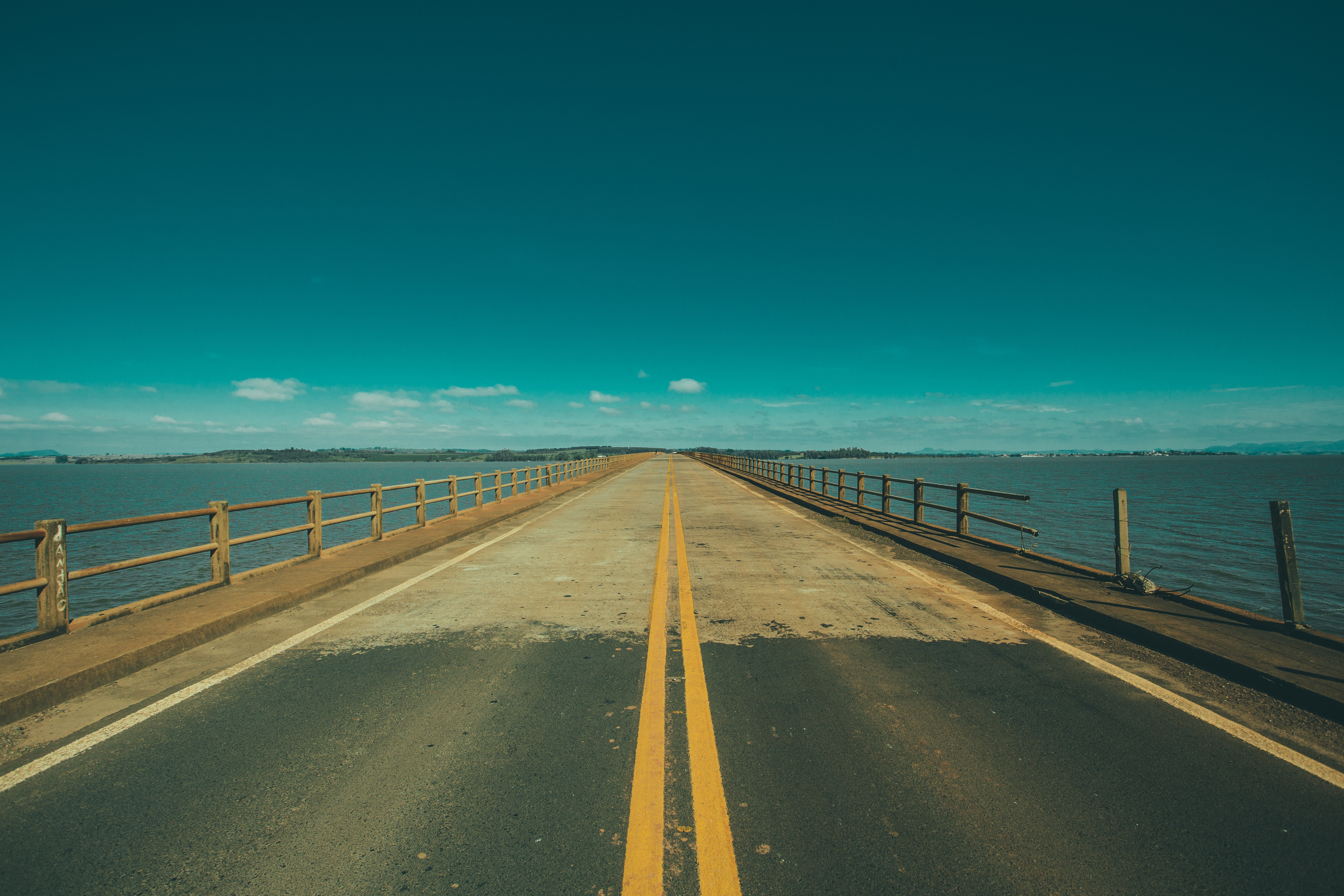 Grey Concrete Road in the Middle of the Sea, Asphalt, Bridge, Ocean, Road, HQ Photo