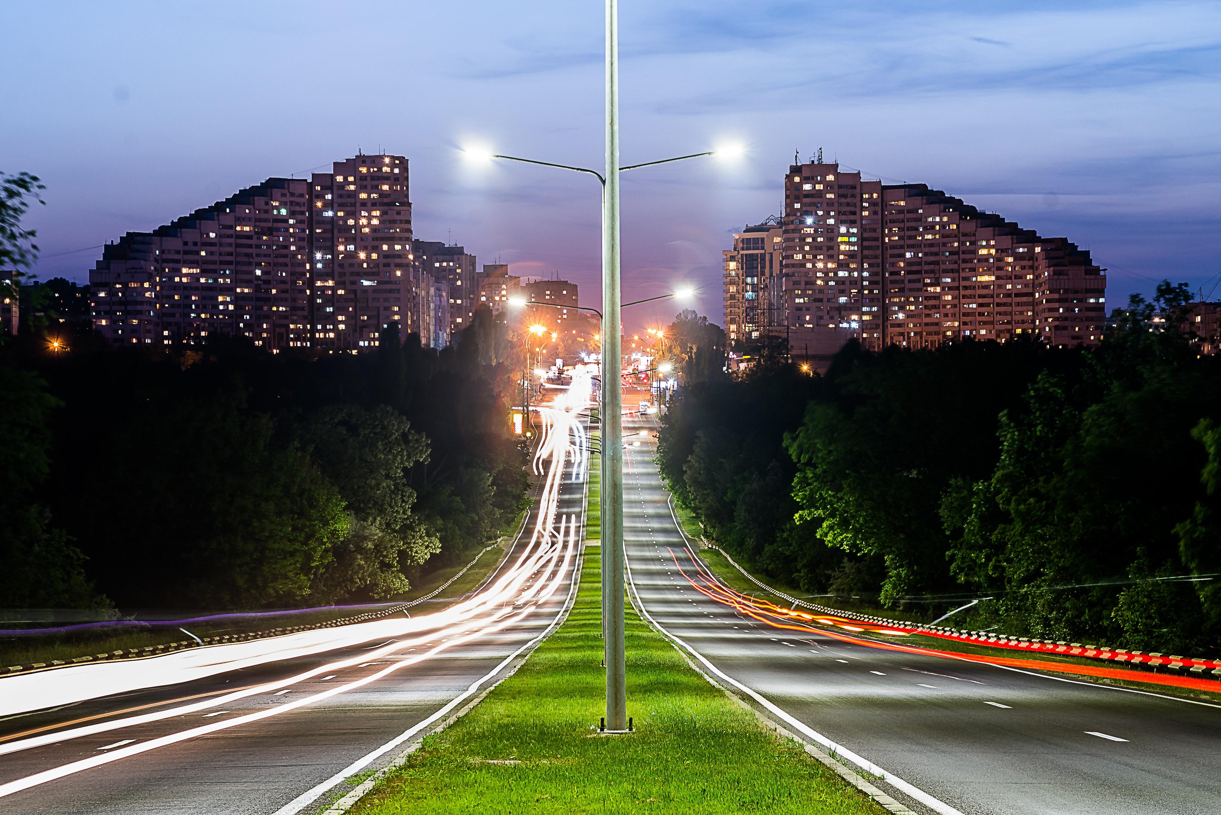 Grey Lamp Port Between Grey Concrete Road, Asphalt, Buildings, City, Highway, HQ Photo