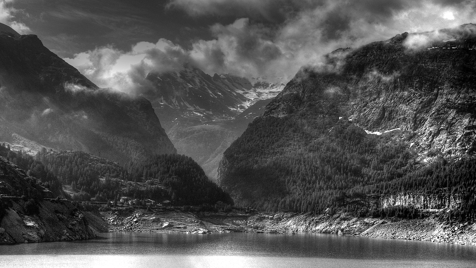 Grey Scale Photo of Body of Water Near Mountain Ranges, Black-and-white, River, Valley, Travel, HQ Photo