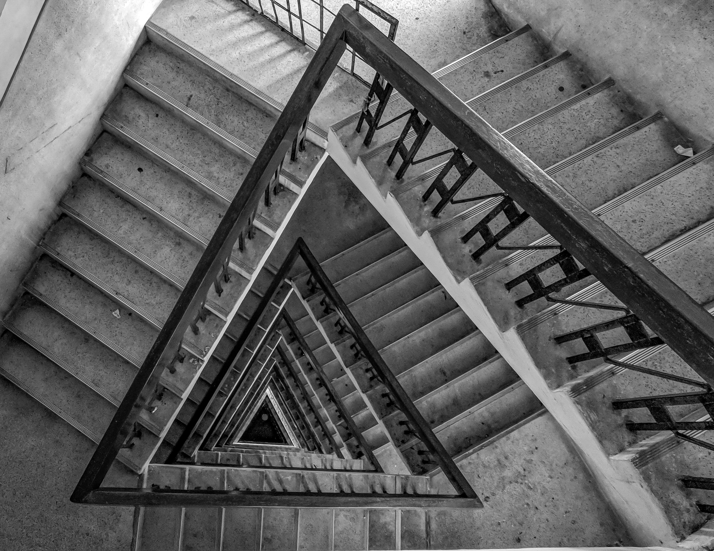 Multi-floor Stairs Grayscale Photo · Free Stock Photo