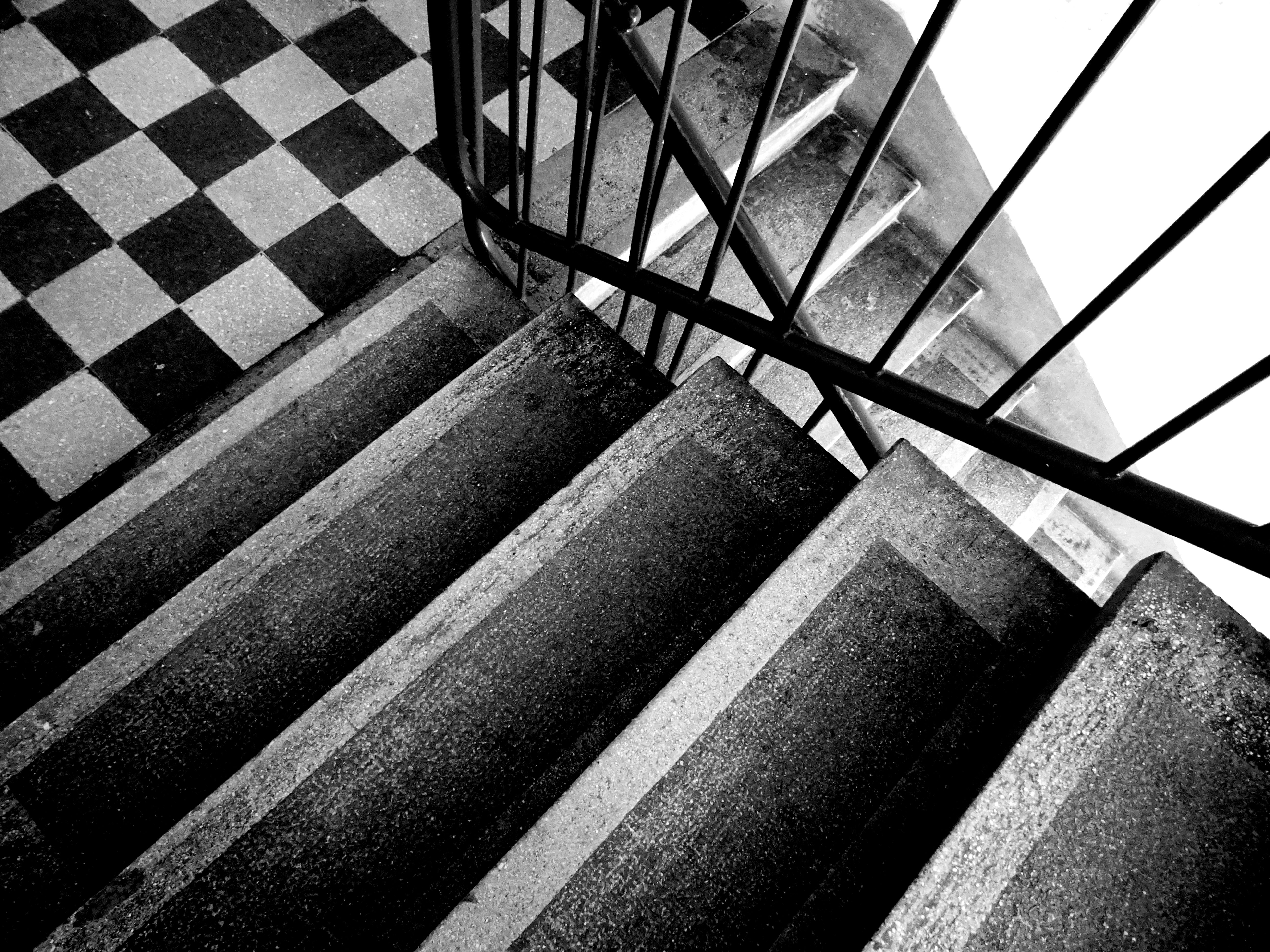 Grey Scale Photo of Stairs, Black and white, Colors, Concrete, Design, HQ Photo