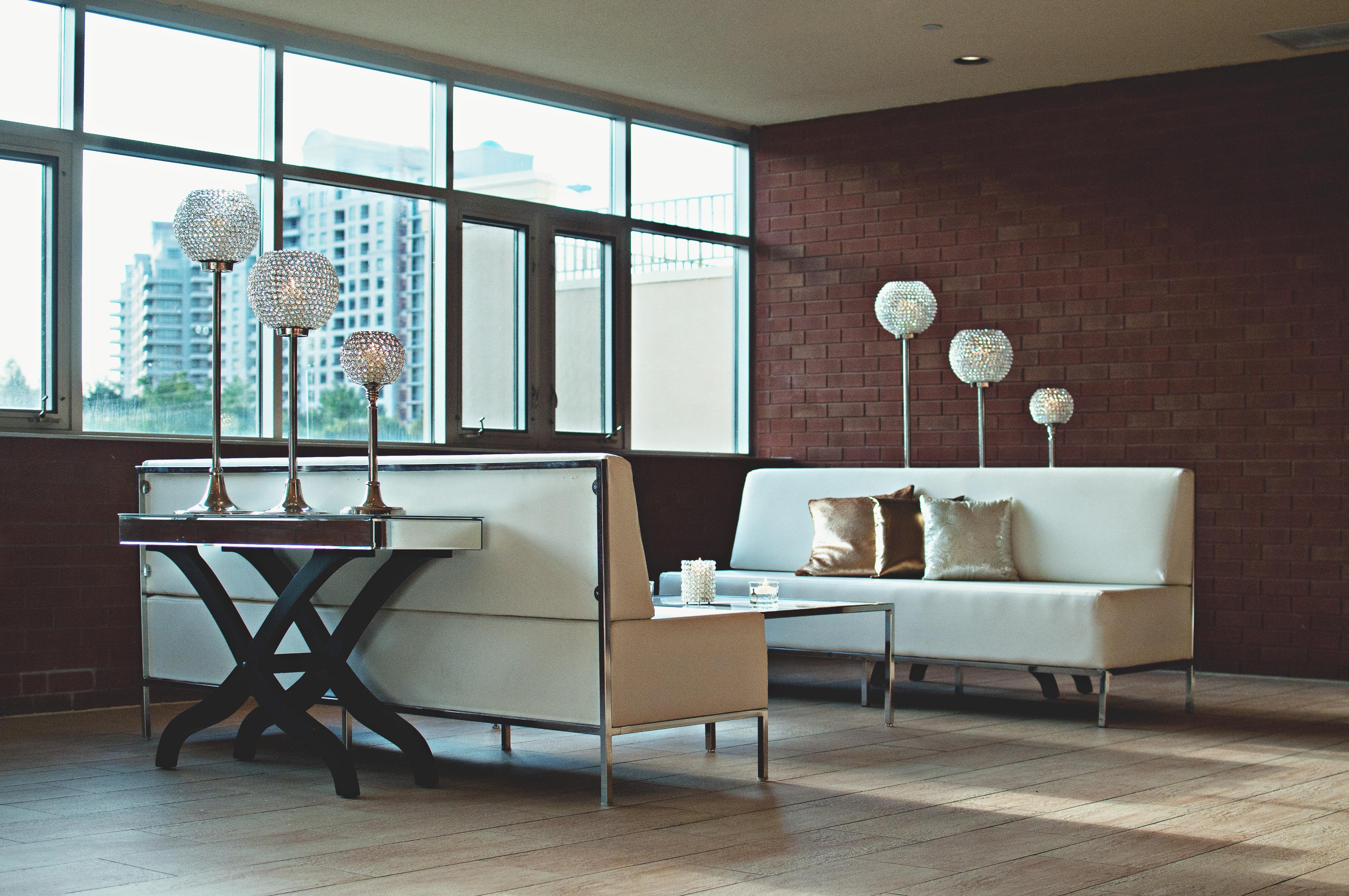 Grey Throw Pillow on White Sofa Near the Window, Apartment, Luxury, Texture, Table, HQ Photo