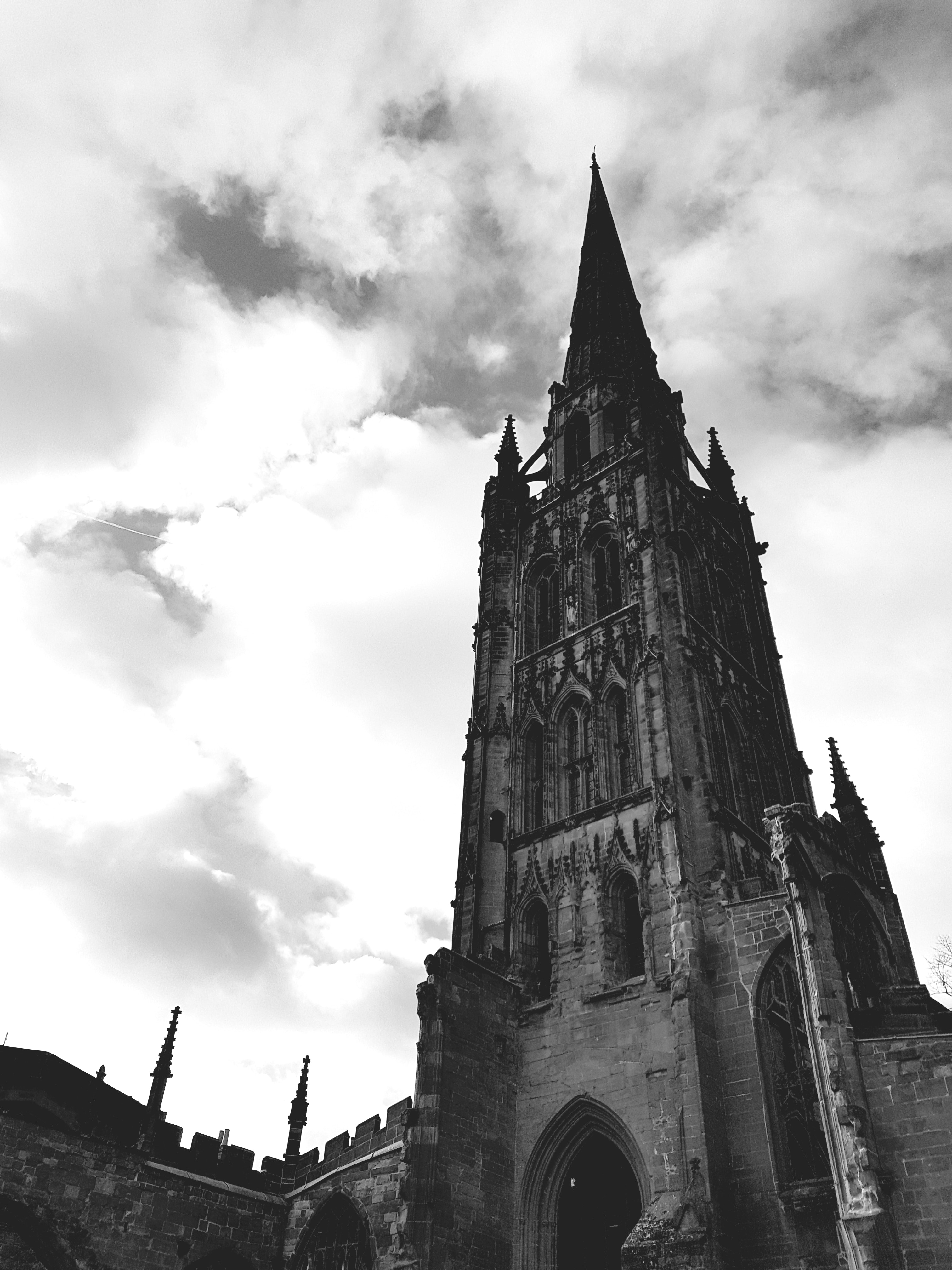 Greyscale Photo of Concrete Tower Building, Ancient, Crosses, Sky, Religious, HQ Photo