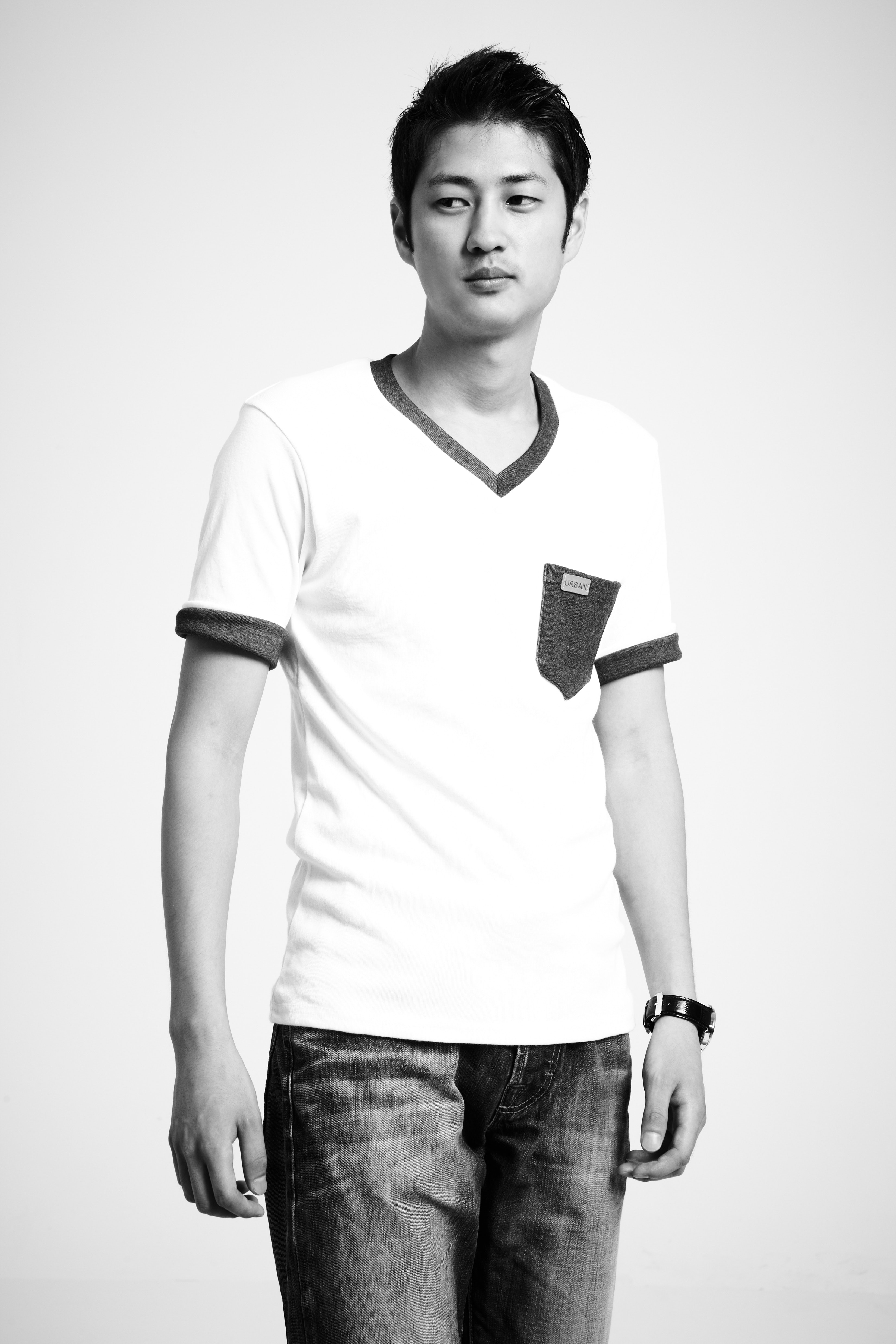 Greyscale Photo of Man in V-neck T-shirt, Man, Young, Wrist watch, Wear, HQ Photo