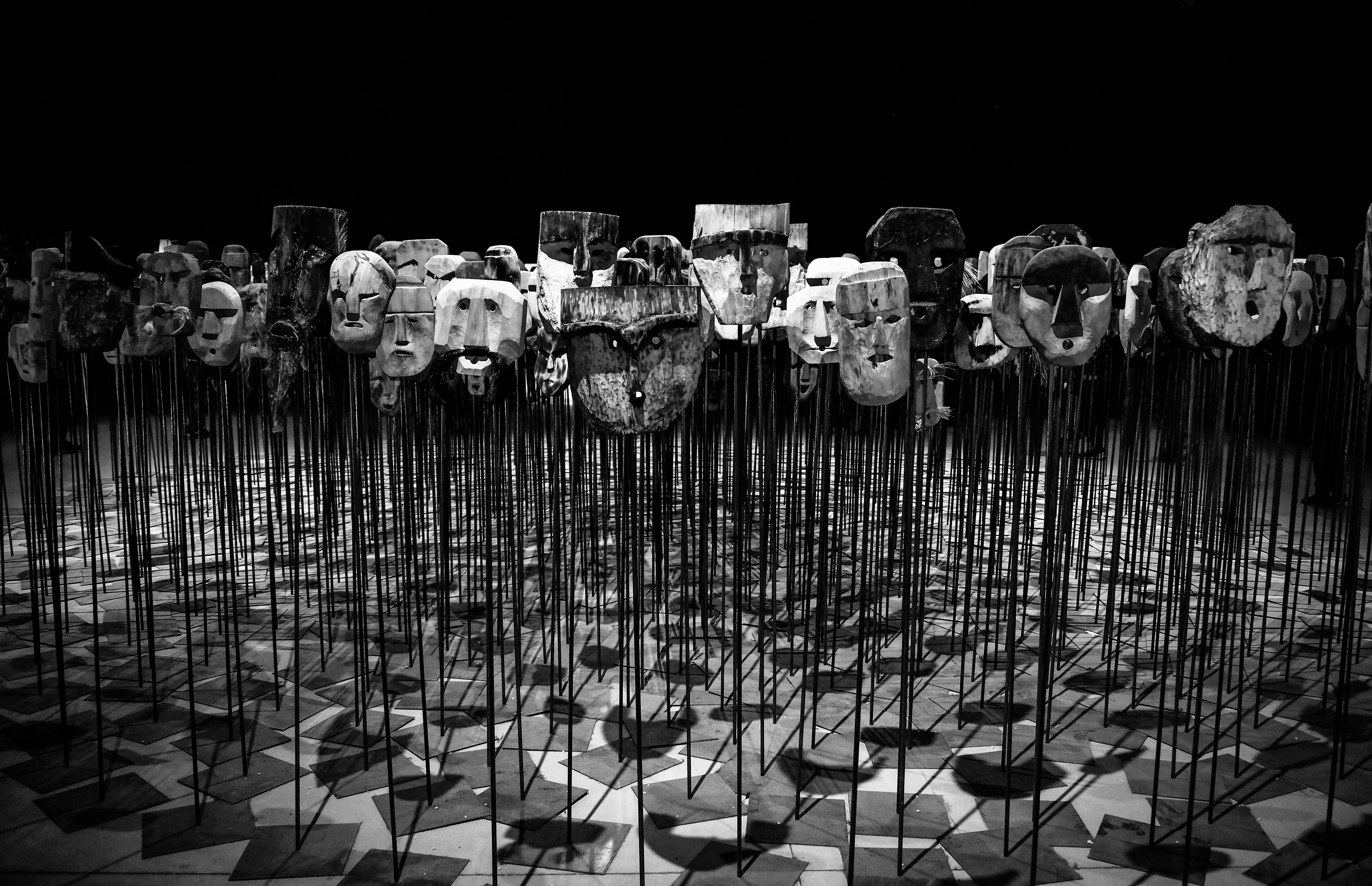 Free Photo Greyscale Photo Of Masks On A Stick Art Artist Black And White Free Download Jooinn
