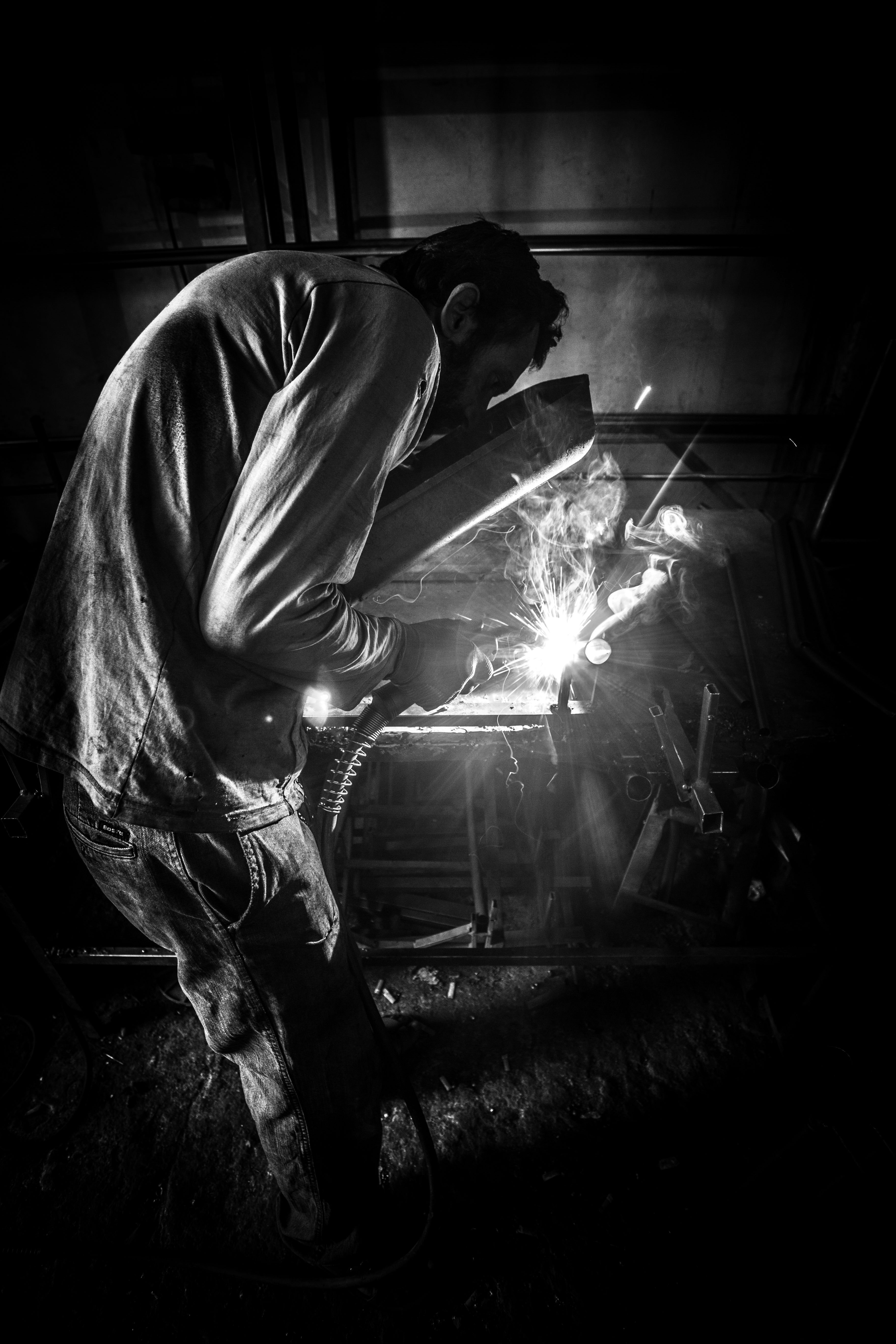 Greyscale Photo of Person Having Welding, Adult, Man, Work area, Work, HQ Photo