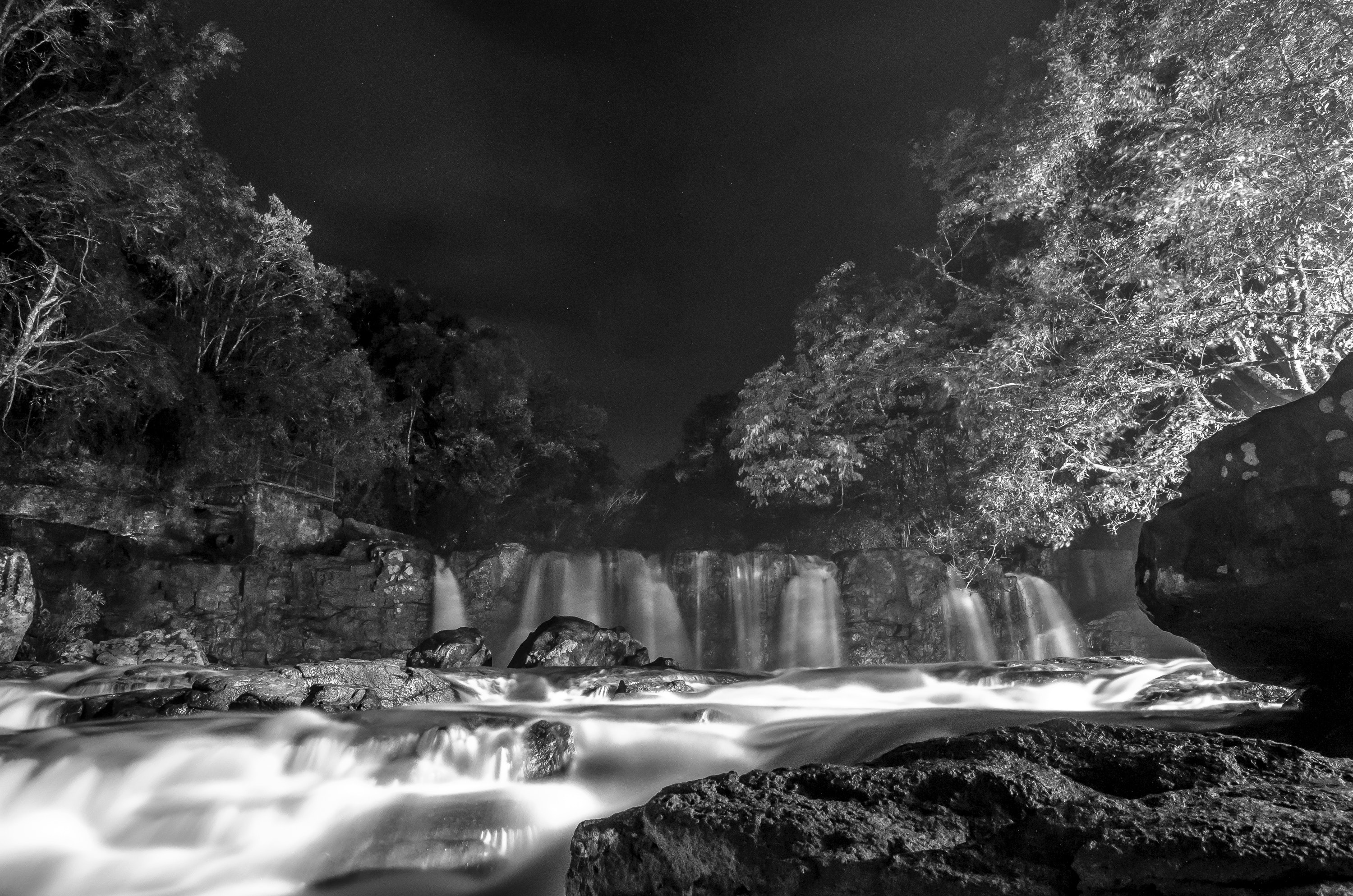Greyscale Photo of Waterfall during Nighttime, Black-and-white, Cascade, Landscape, Nature, HQ Photo