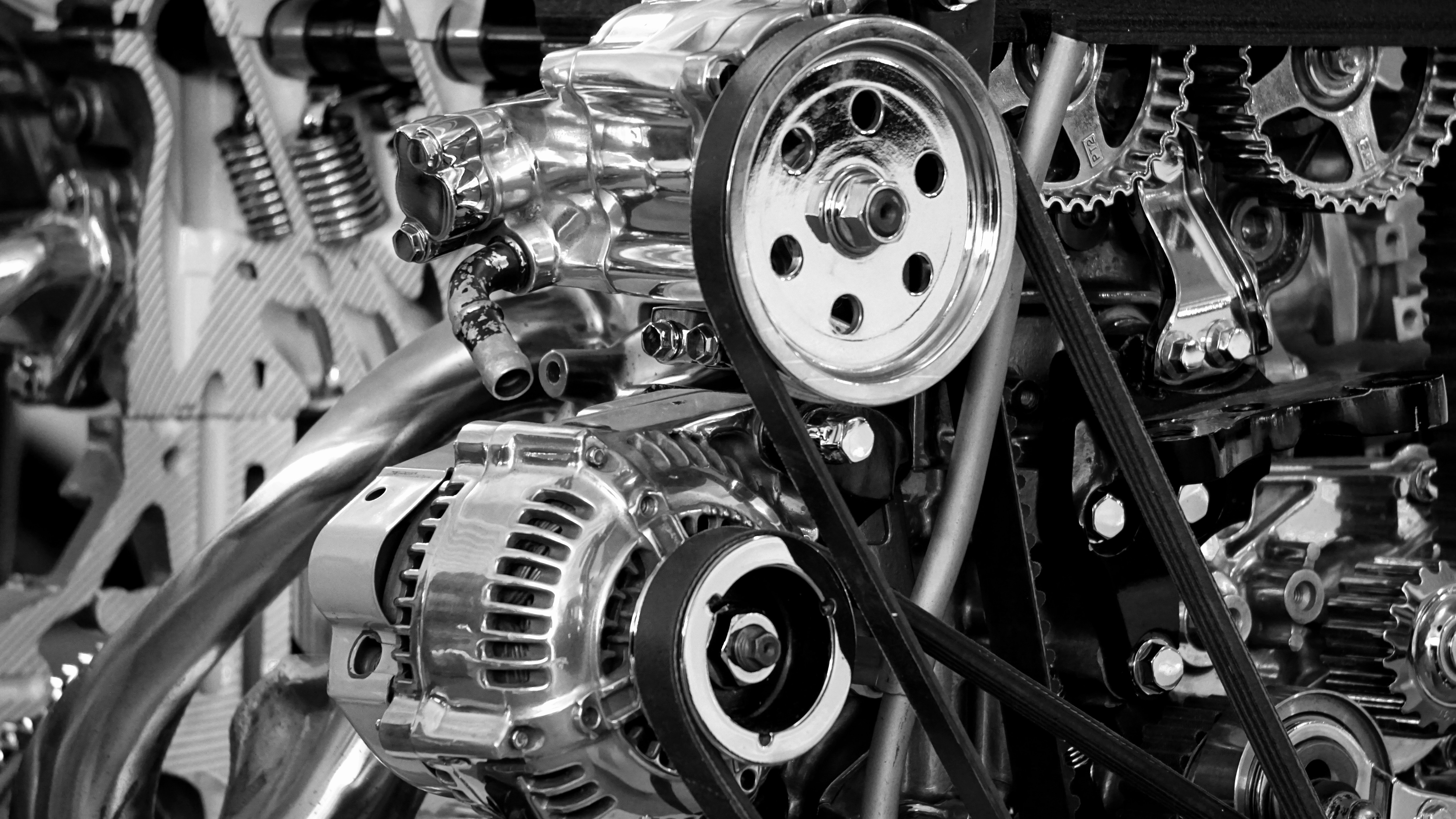 Free Photo Greyscale Photography Of Car Engine Metal Shiny Power Free Download Jooinn