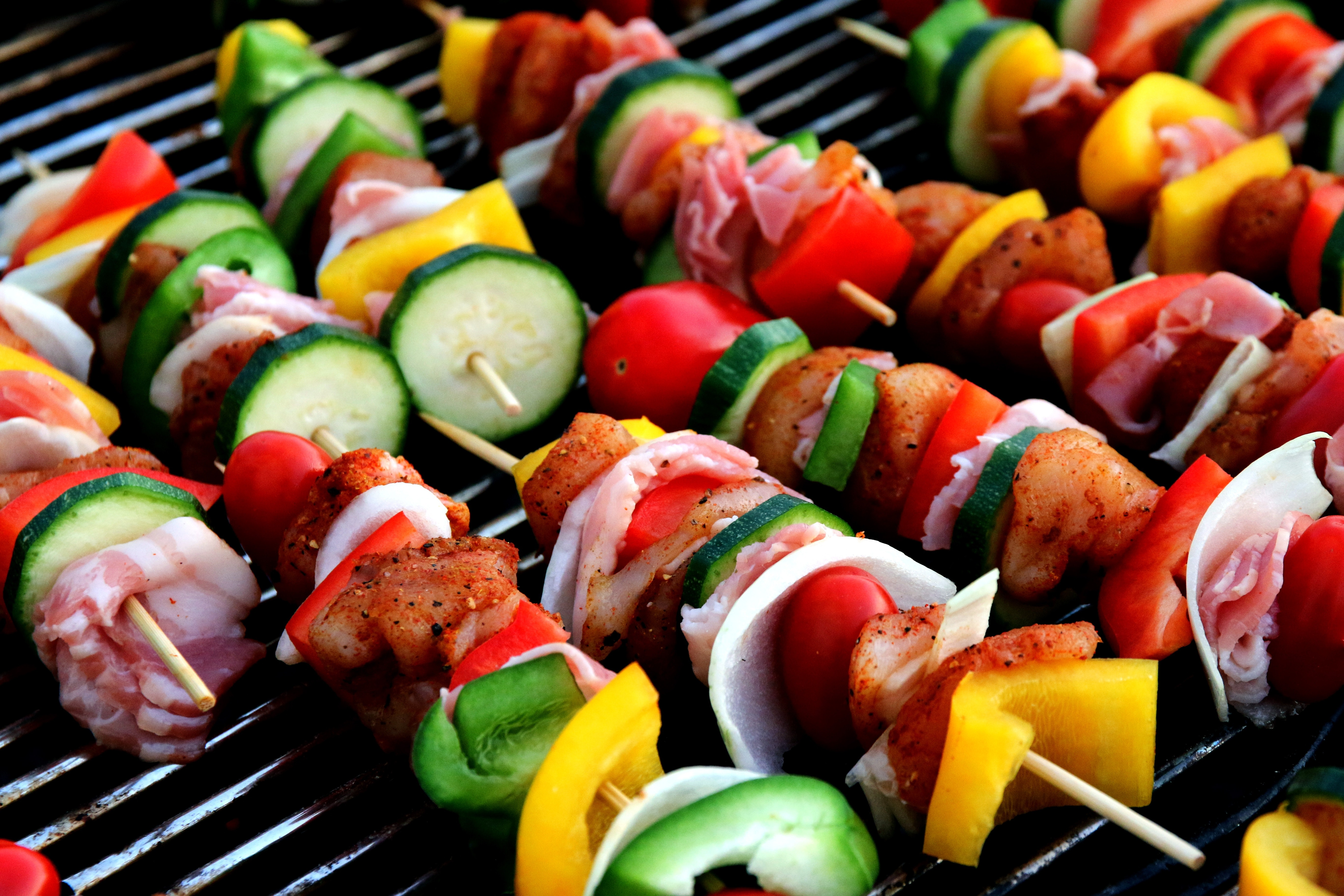 Grilling Kebab, Barbecue, Colorful, Colourful, Dinner, HQ Photo