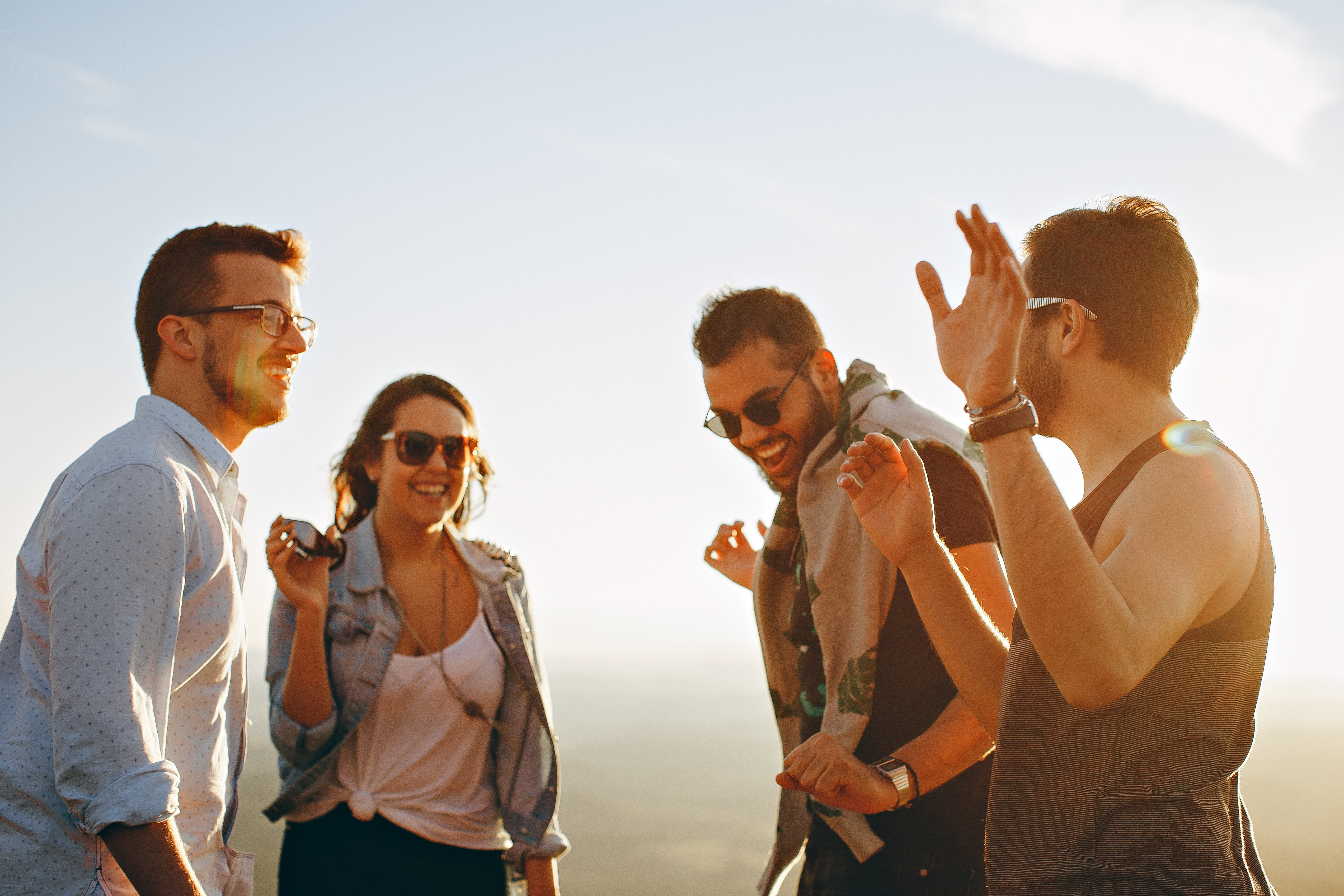 Group of People Having Fun Together Under the Sun, Backlit, Laughing, Woman, Wear, HQ Photo