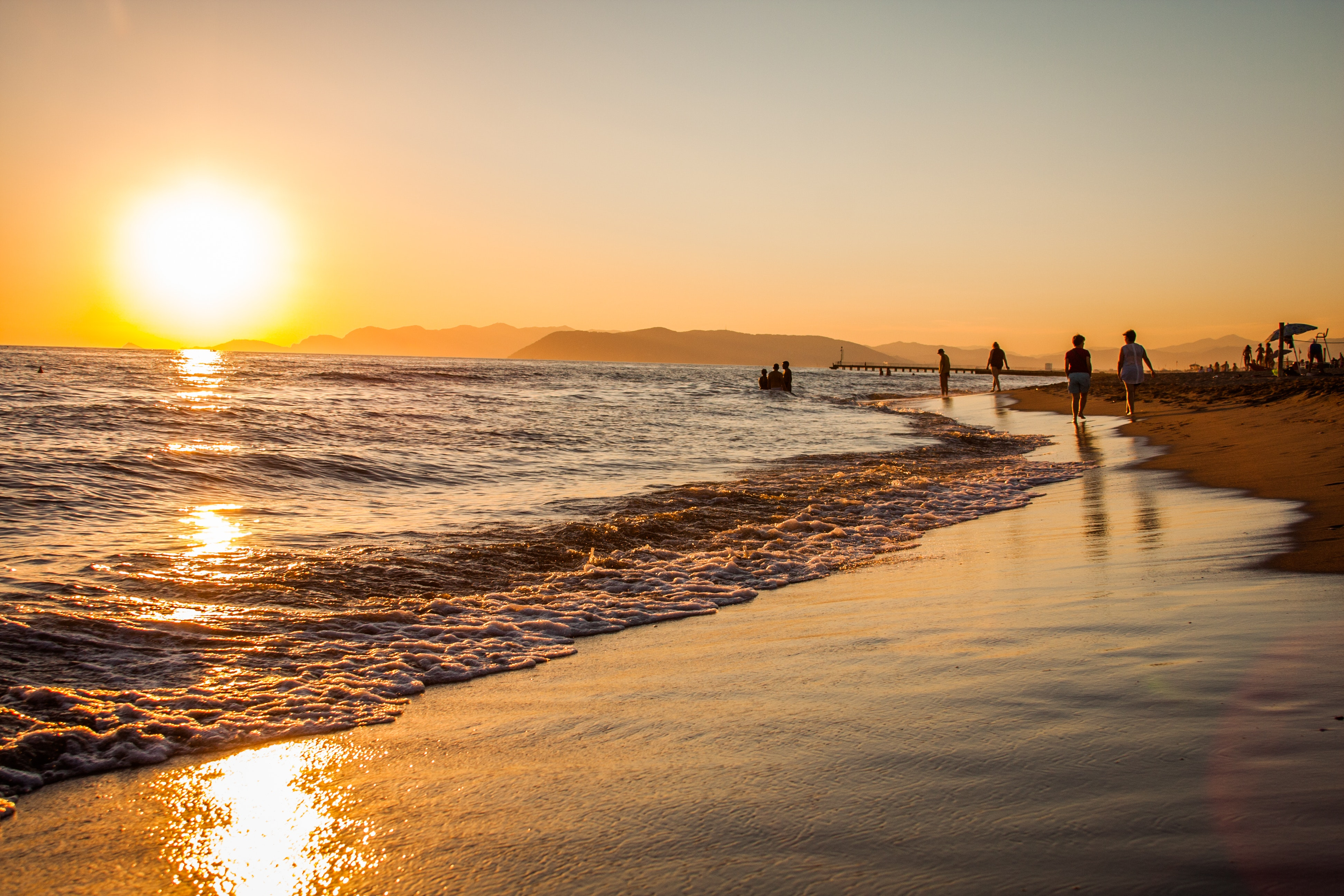 Group of People Walking at the Shoreline during Golden Hour, Beach, Sea, Water, Swimming, HQ Photo