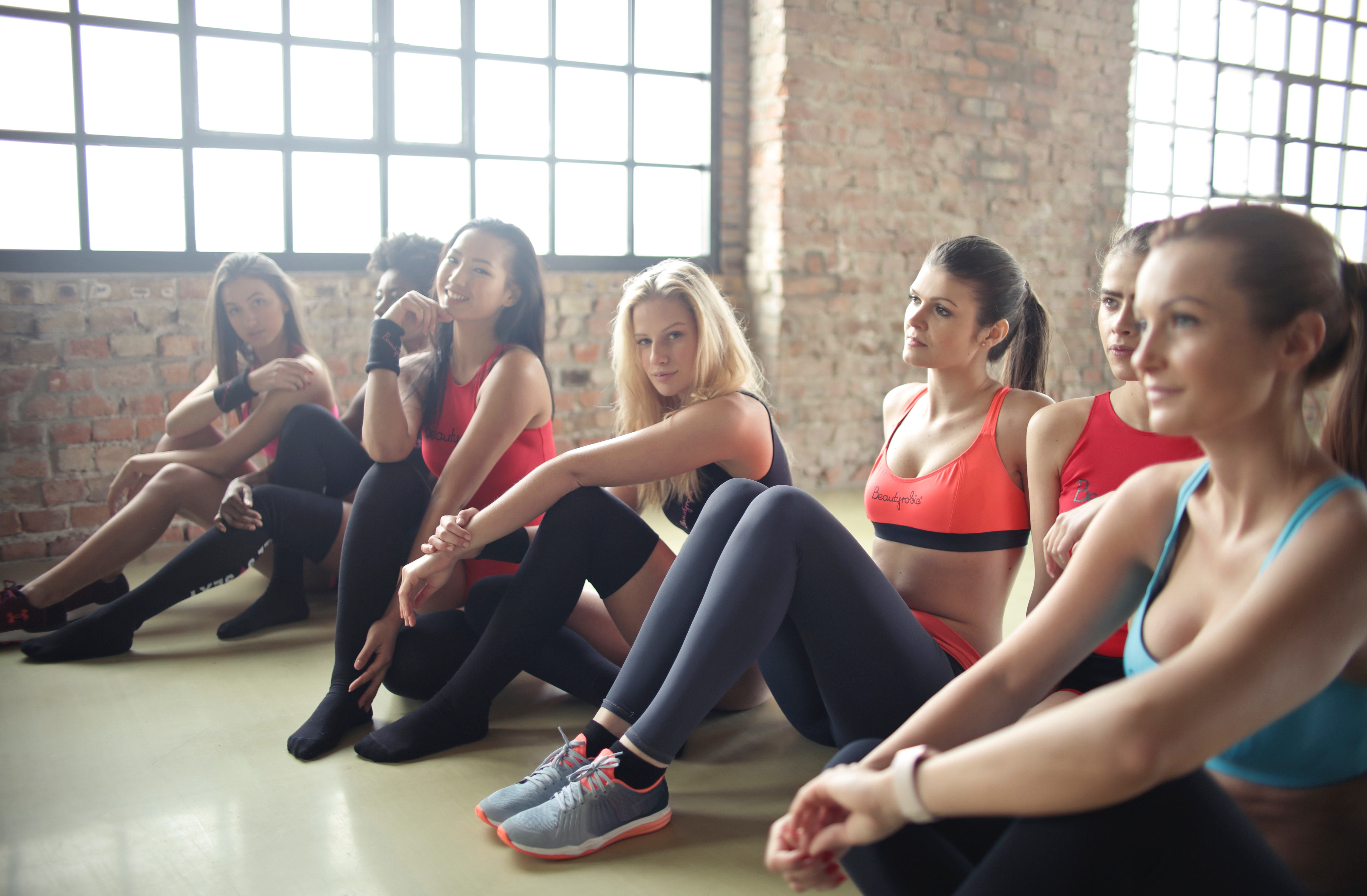 Group of woman in yoga class photo
