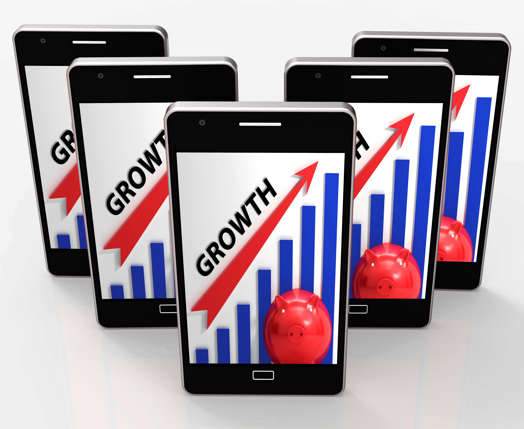 Growth Graph Means Financial Increase Or Gain, Income, Web, Smartphone, Sales, HQ Photo