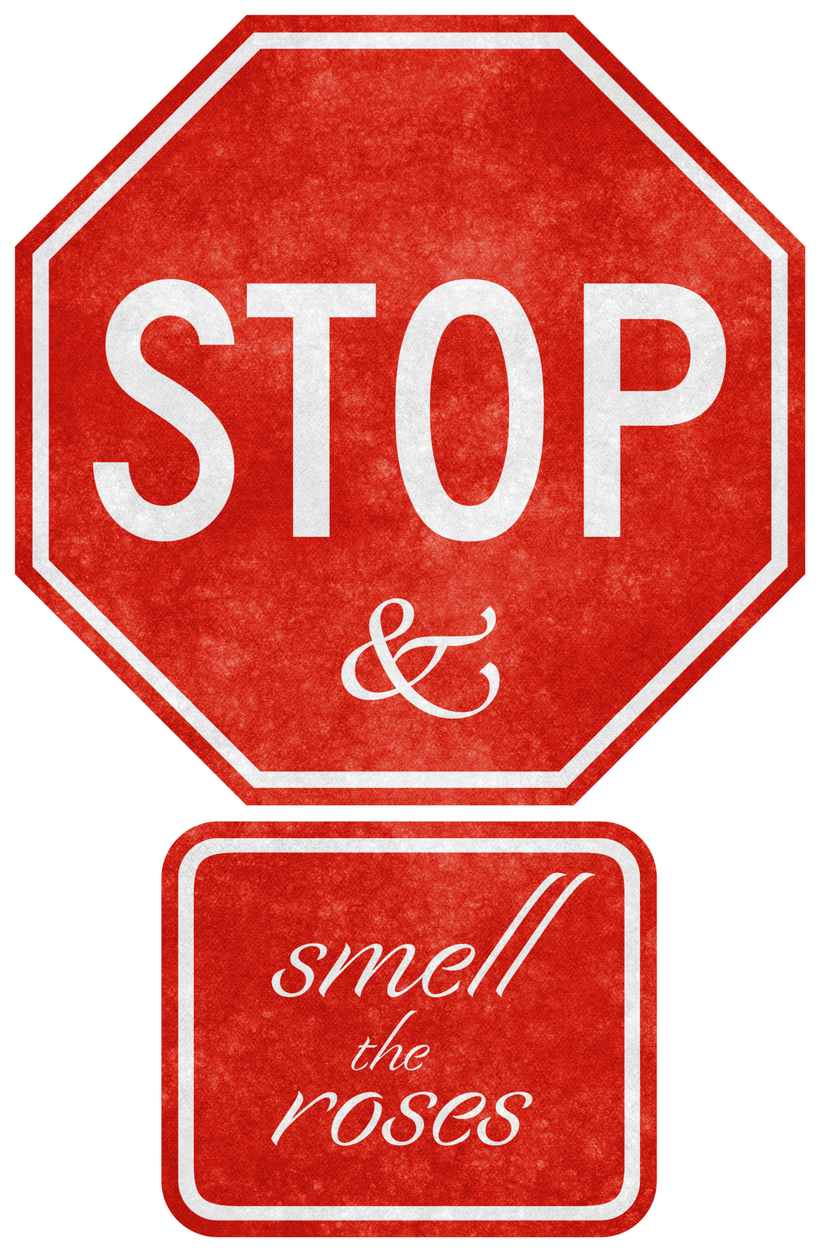 Grunge road sign - stop & smell the photo