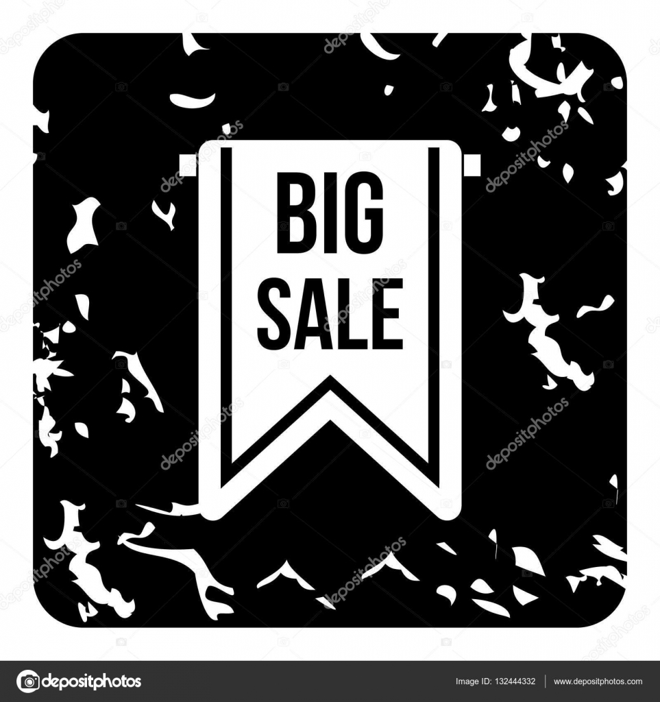 Big sale tag icon, grunge style — Stock Vector © ylivdesign #132444332