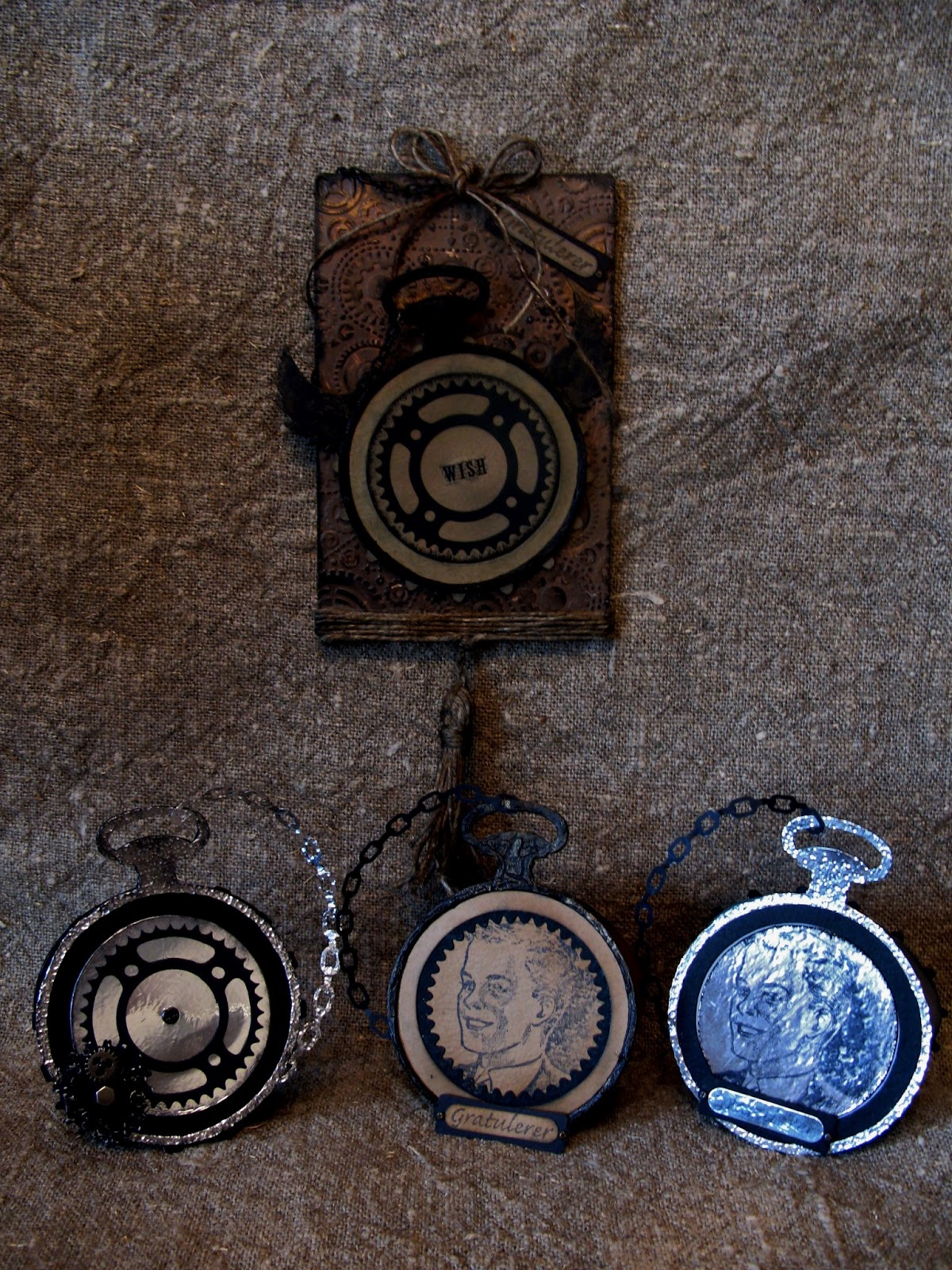 annes papercreations: Tim Holtz Pocket watch cards and grunge tag card