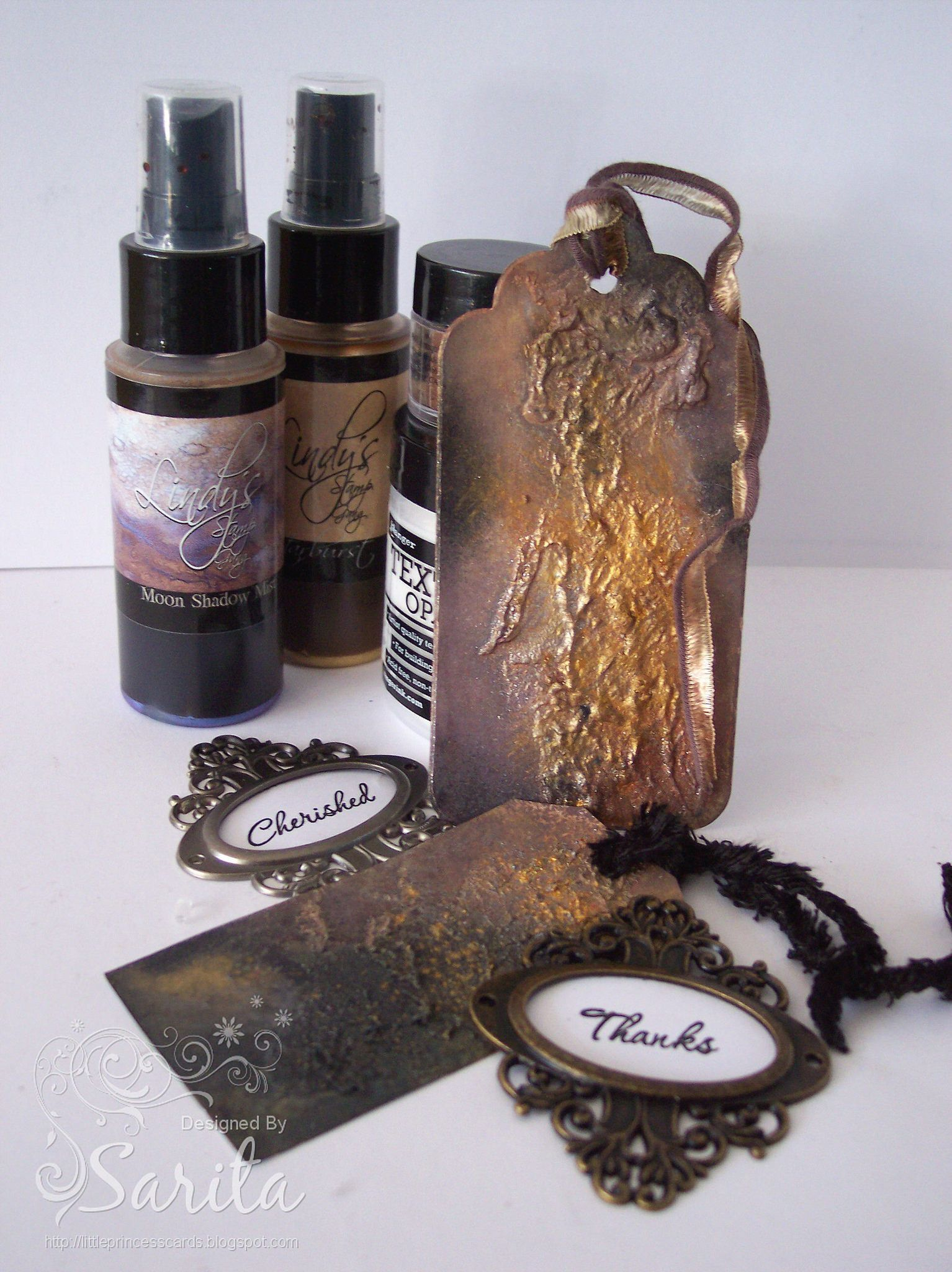 Lindy's metallic gold and copper magicals mixed media grunge tag 1 ...