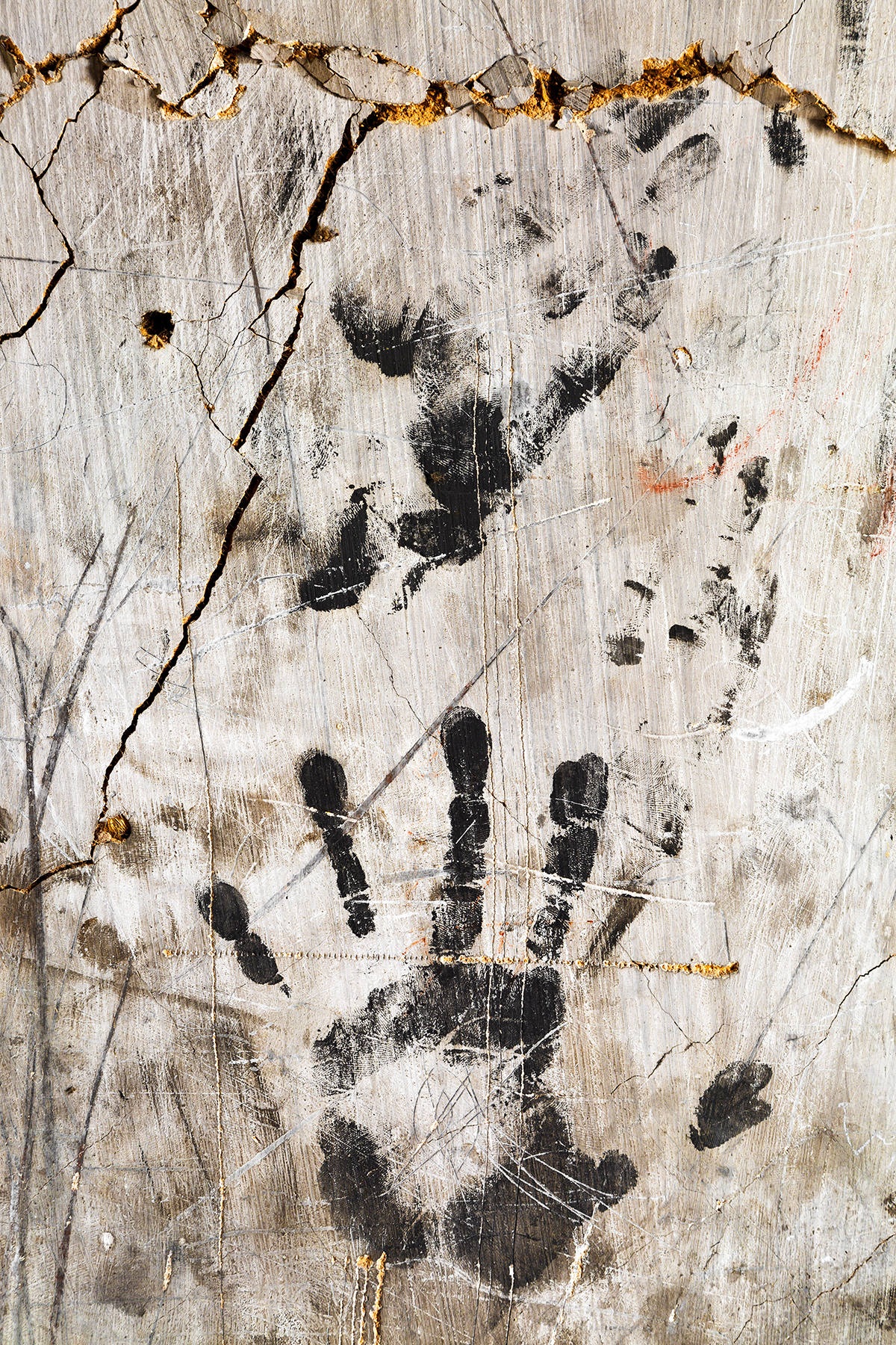Grunge Wall Imprints - HDR Texture, Backdrop, Messy, Print, Palm, HQ Photo