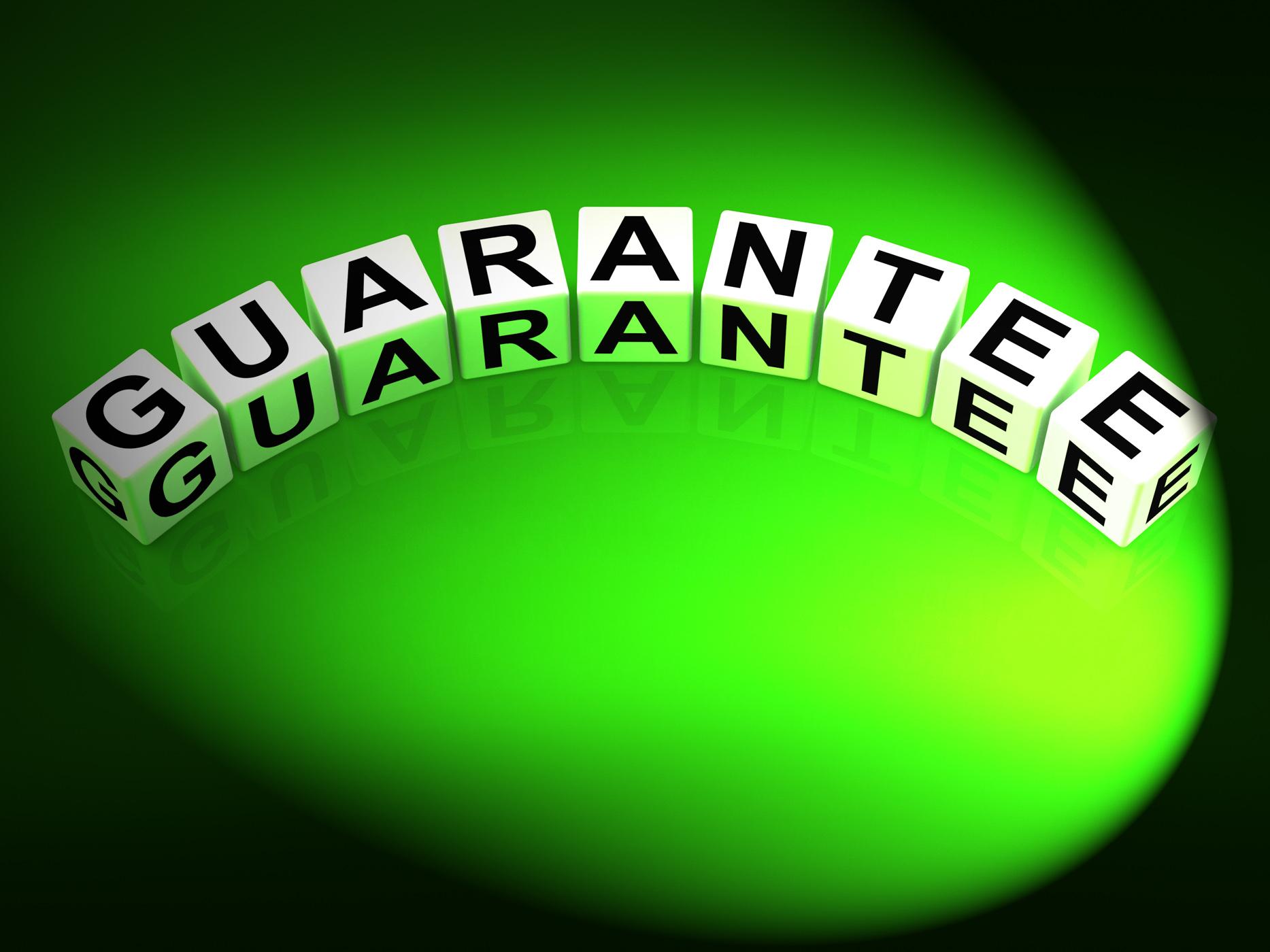 Guarantee dice show pledge of risk free guaranteed photo
