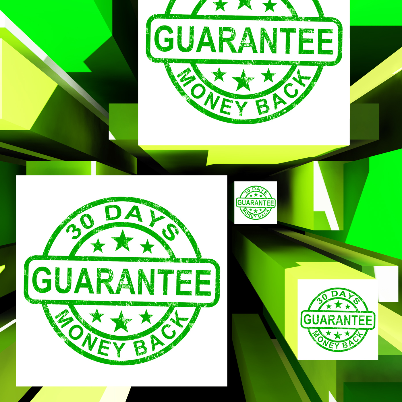 Guarantee on cubes shows certificated item photo