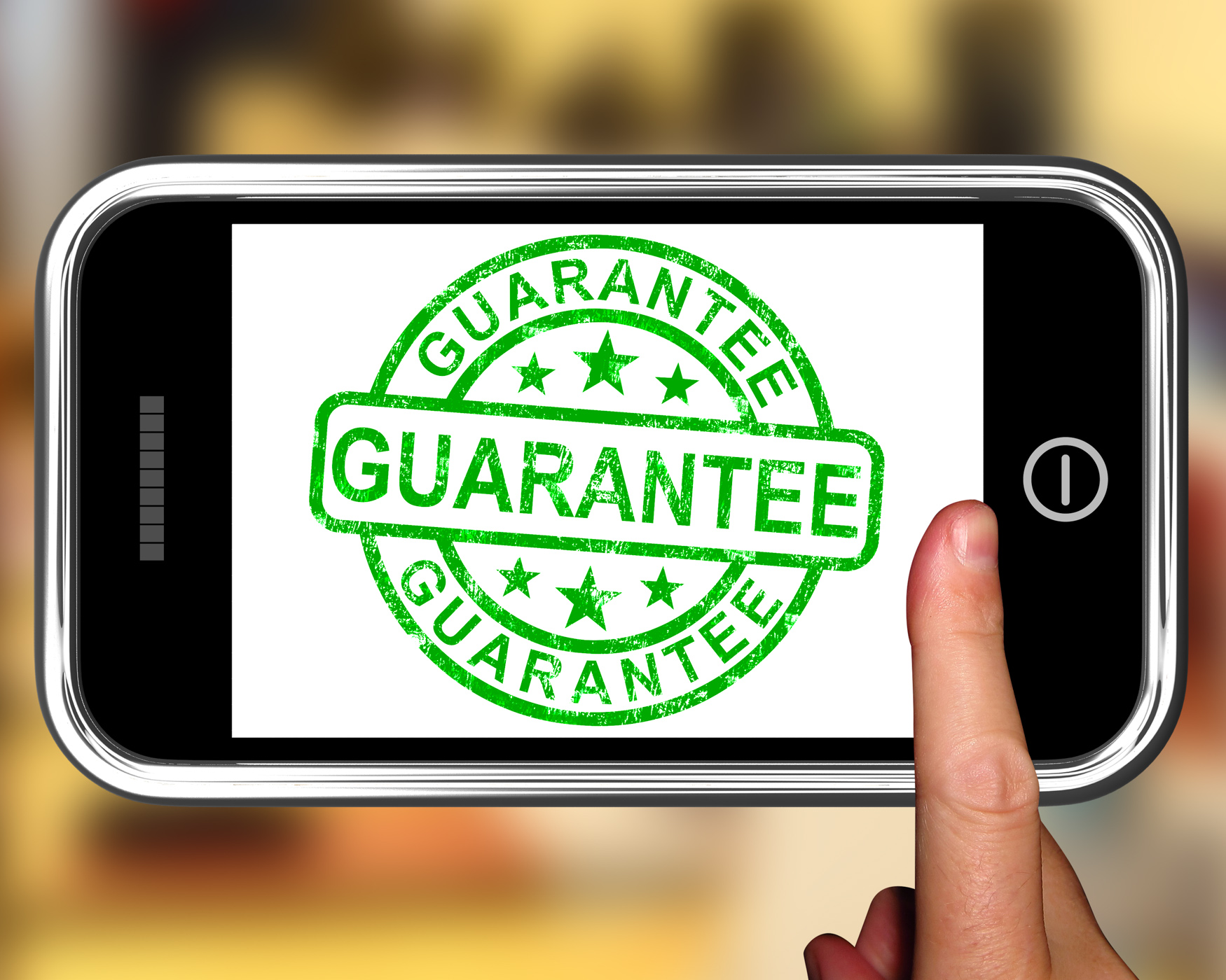 Guarantee On Smartphone Showing Satisfaction Guarantee, Aftersale, Purchase, Warranty, Warrant, HQ Photo